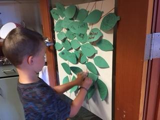 Working on the gratitude tree
