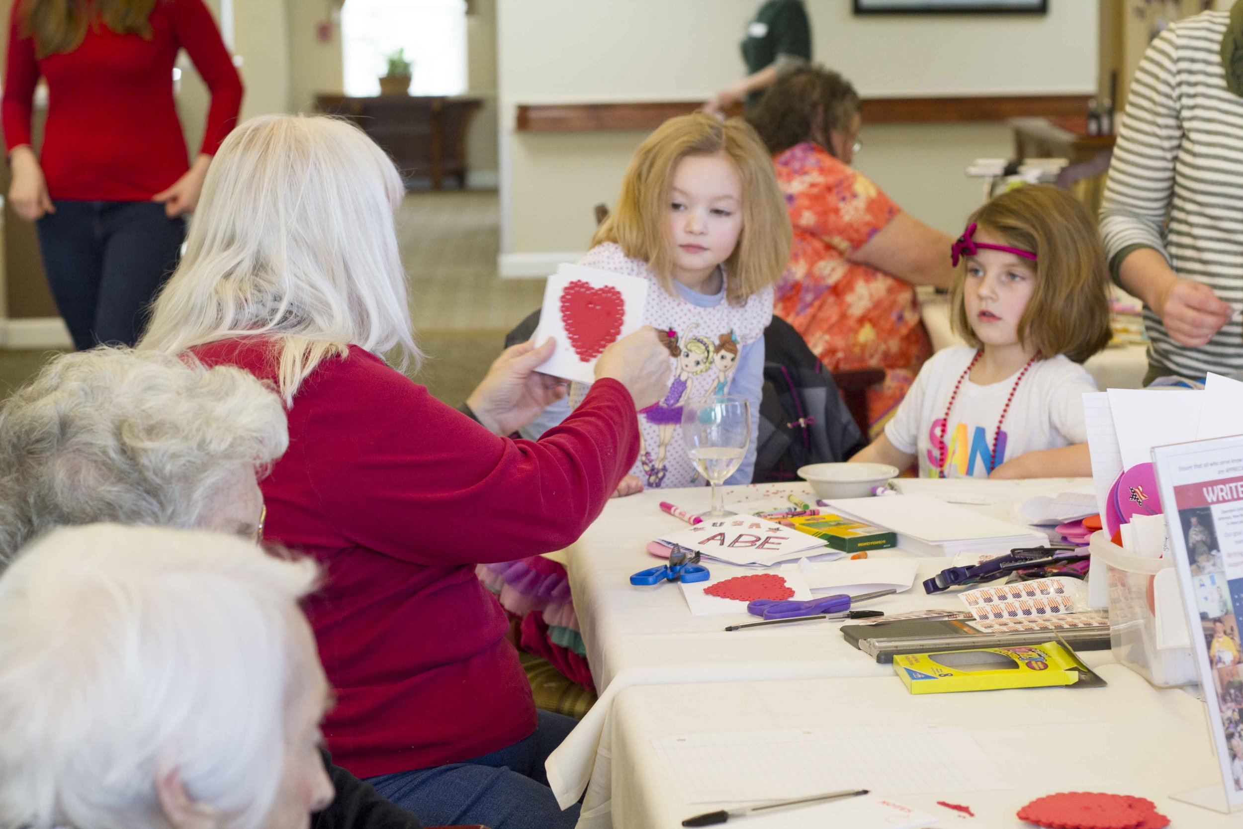 Jan 30 we made 37 Valentines to deployed troops and 62 friendship bracelets for humanitarians in Haiti with the residents at Lone Oak Retirement Community.