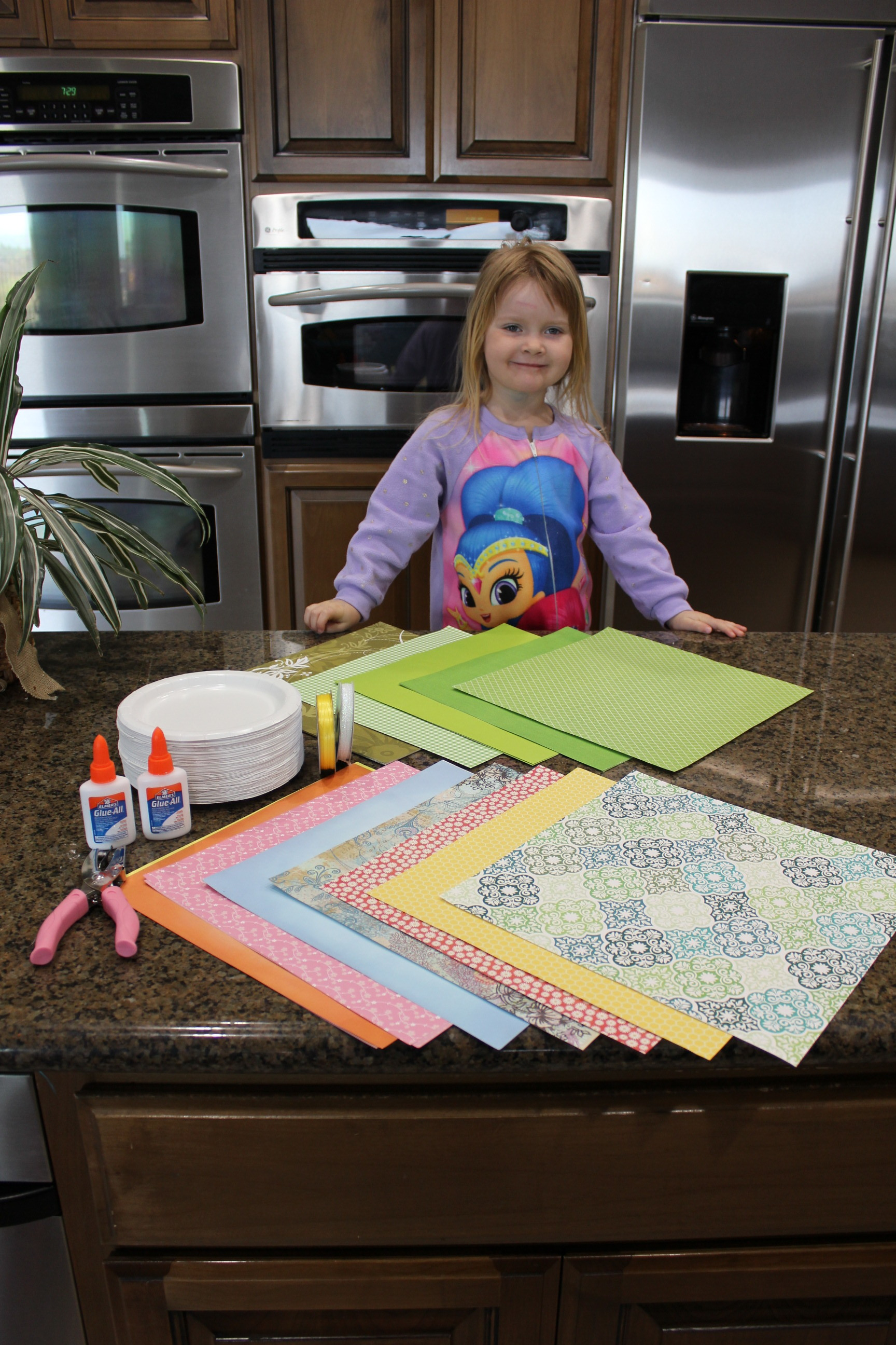 Addie with all of her supplies.