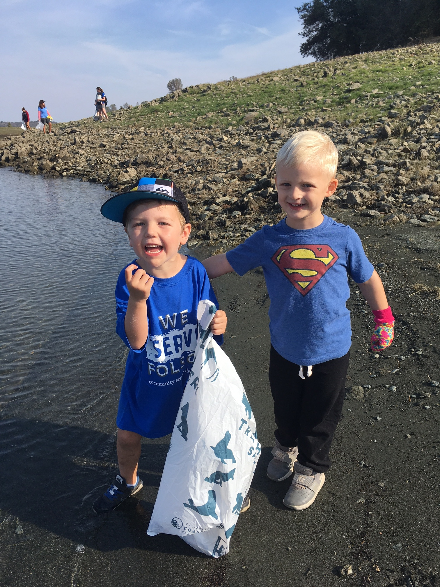 Jack and Jason even looked for trash IN the water!