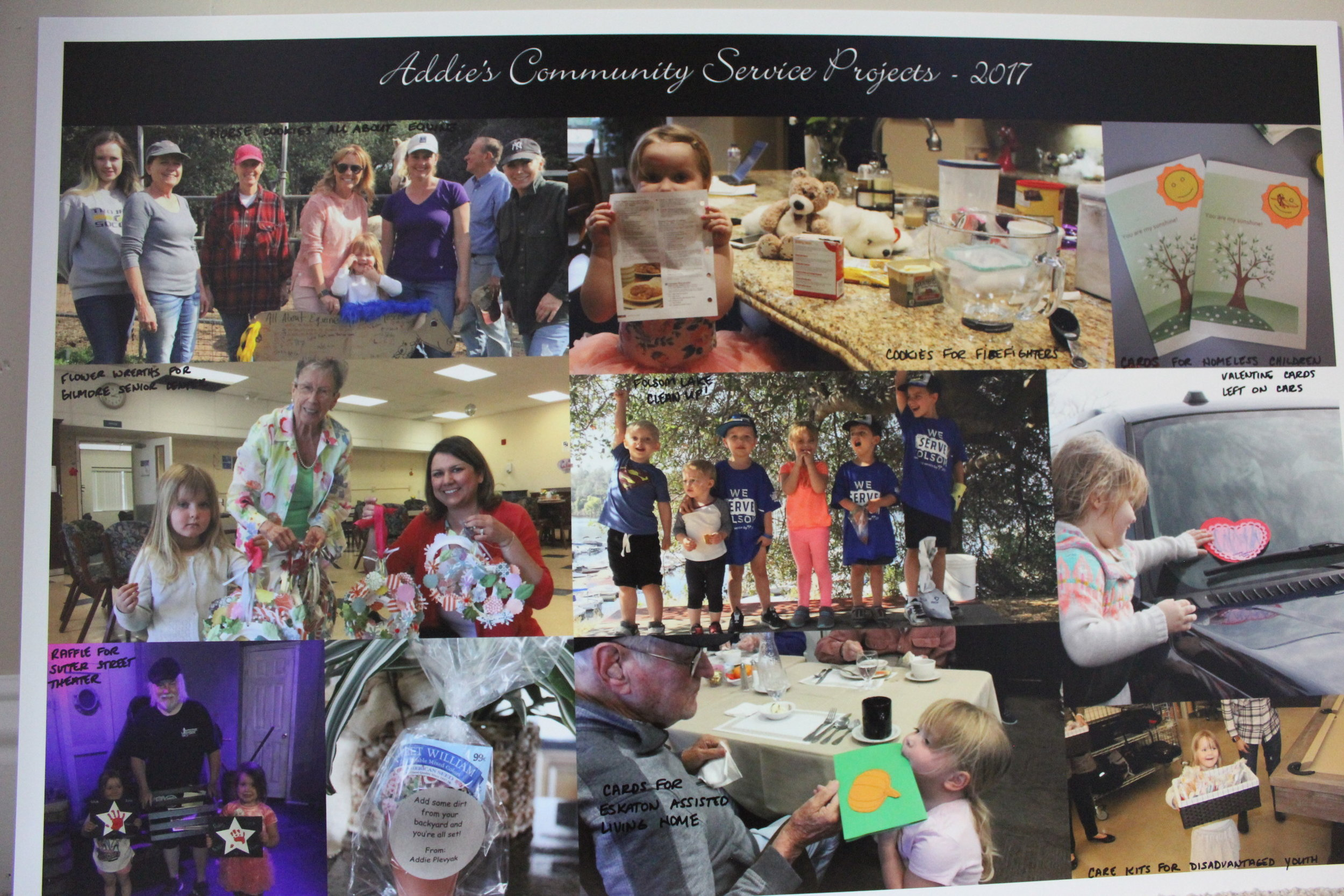 Pictures from some of Addie's community service projects that she completed in 2017