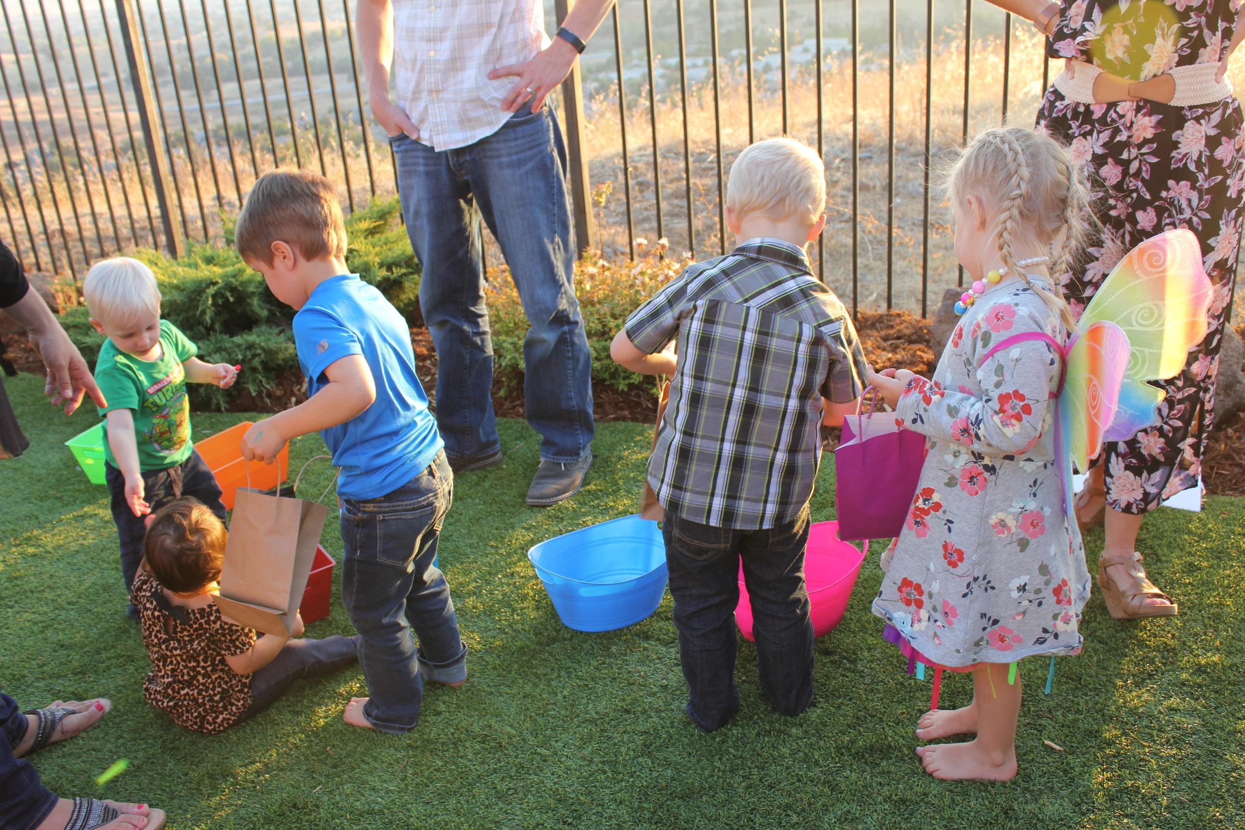 Children assembling Care Kits
