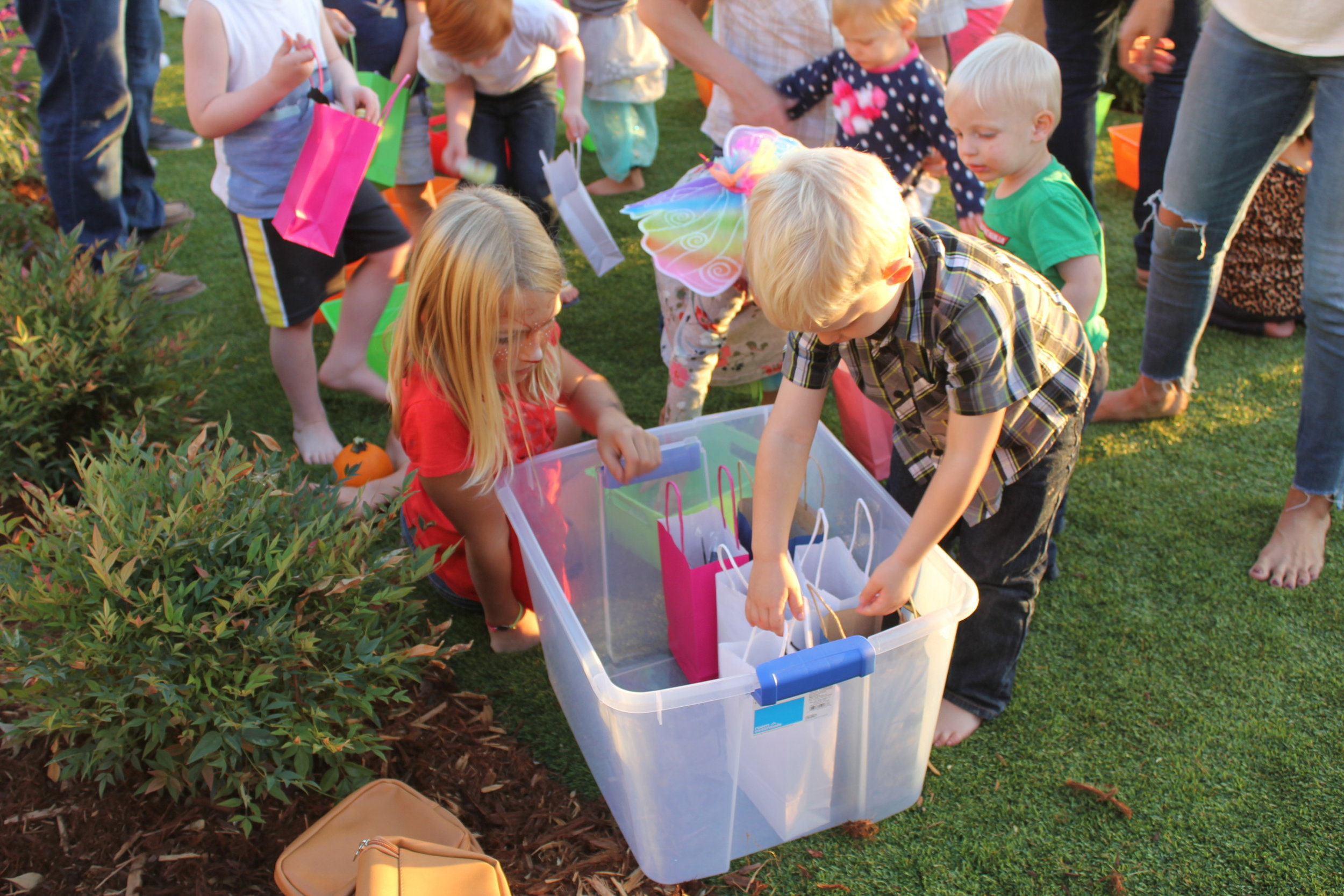 The bin was full of Care Kits that the children had assembled. The kits were donated to a family and community in Santa Rosa, CA.