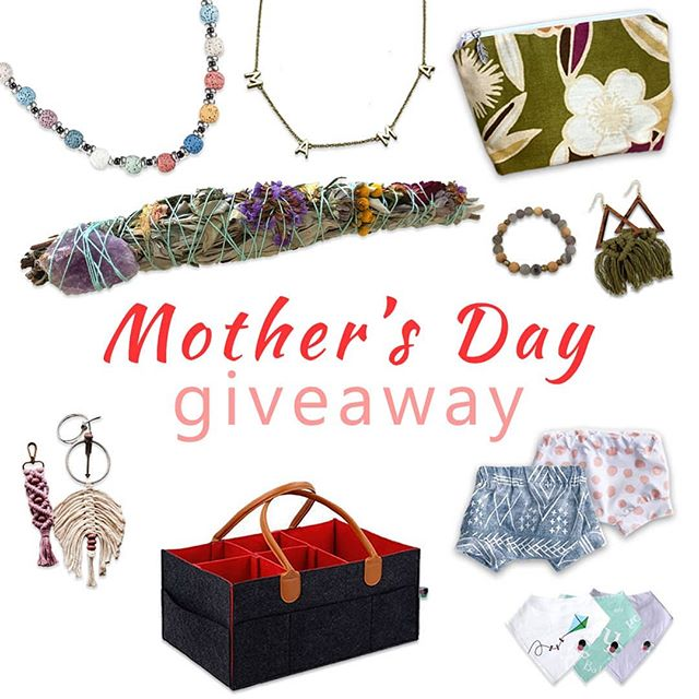 💐 Mother's Day GIVEAWAY 💐  Happy Mother's Day mommas!! To celebrate YOU being a mamma we've all teamed up to bring you a chance to win these beautiful gifts for yourself and your baby 💖  To enter:  1. Like this photo.  2. Follow all shops:  @amaliah_a_mano (Macrame earrings and Agate and rosewood diffuser bracelet) @glossydotsbaby (Caddy and bibs) @kammykidsboutique (Shorties) @kindredfeather (Flower print Makeup Bag) @lexilu_creates (Dusty Rose macrame diffuser keychain, Small Dream Catcher Diffuser) @shoplollyllama (Essential Oil Diffuser Necklace) @taylormadeforthree (MAMA Necklace) @zenafstudio (Sage bundle with an attached crystal)  3. Tag friends below. One tag per comment, please. More friends tagged is more entries!  Ends 5/12/2019 at 11:59pm (PST) 💜 Winner will be chosen within 24 hours after the giveaway closes. *This promotion is in no way sponsored, endorsed or administered by, or associated with Instagram. Prize to be fulfilled by each shop. Open to US ONLY. 💮 GOOD LUCK 💮