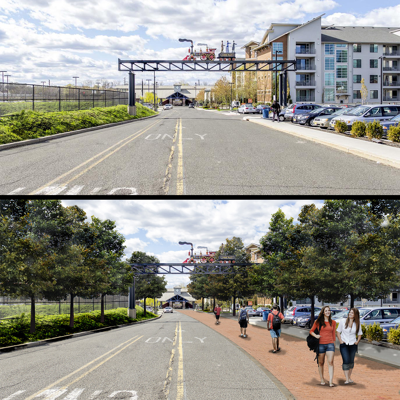 Kean Campus Mobility Study_Rendering 1 before and after.jpg