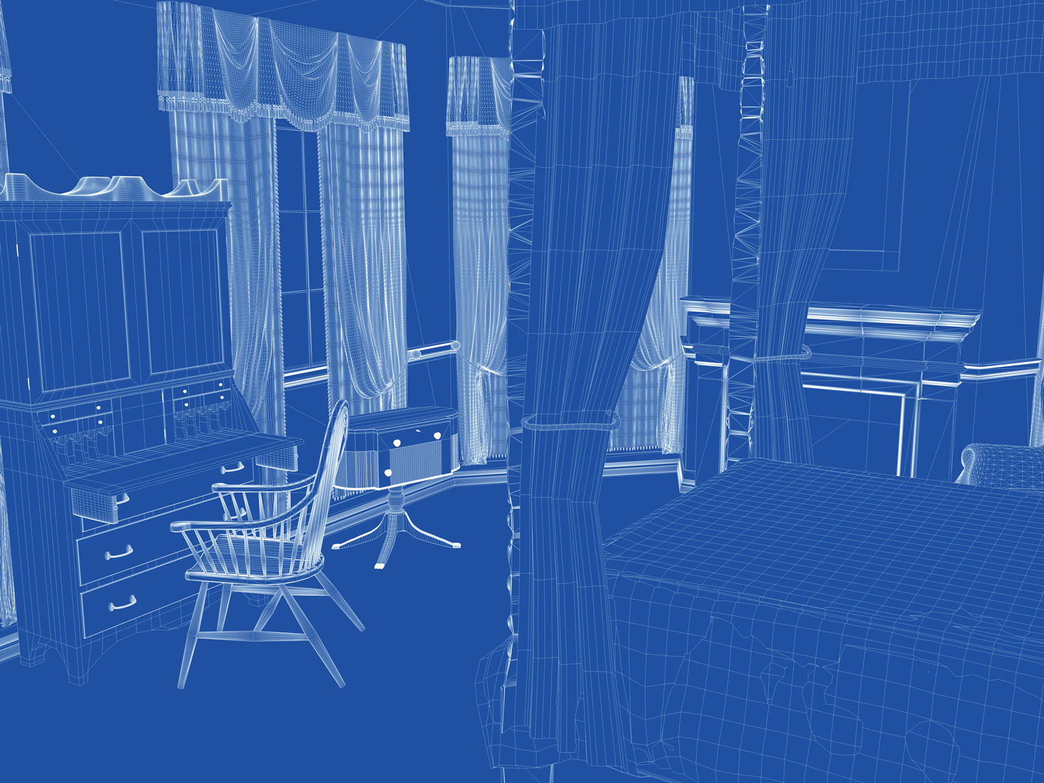Wireframe View of the Bedroom