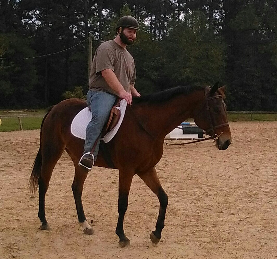 Seminarian Adam Fenstermaker during one of the classes at the Highlands Riding Center.