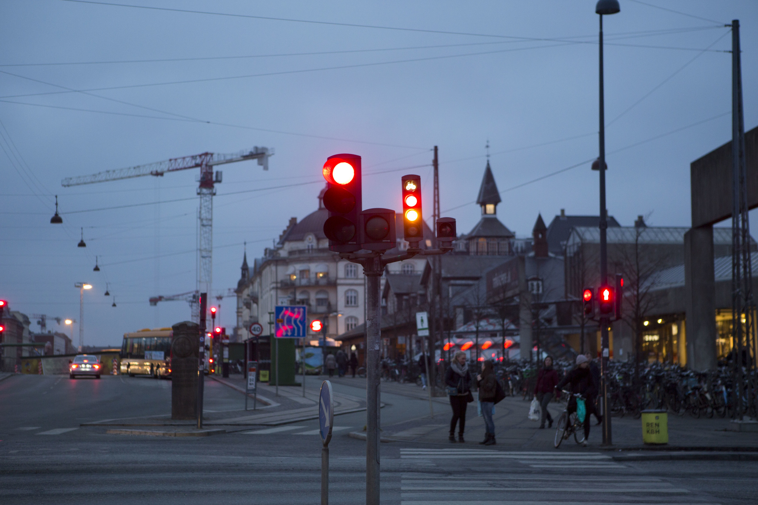 People waiting for the traffic lights