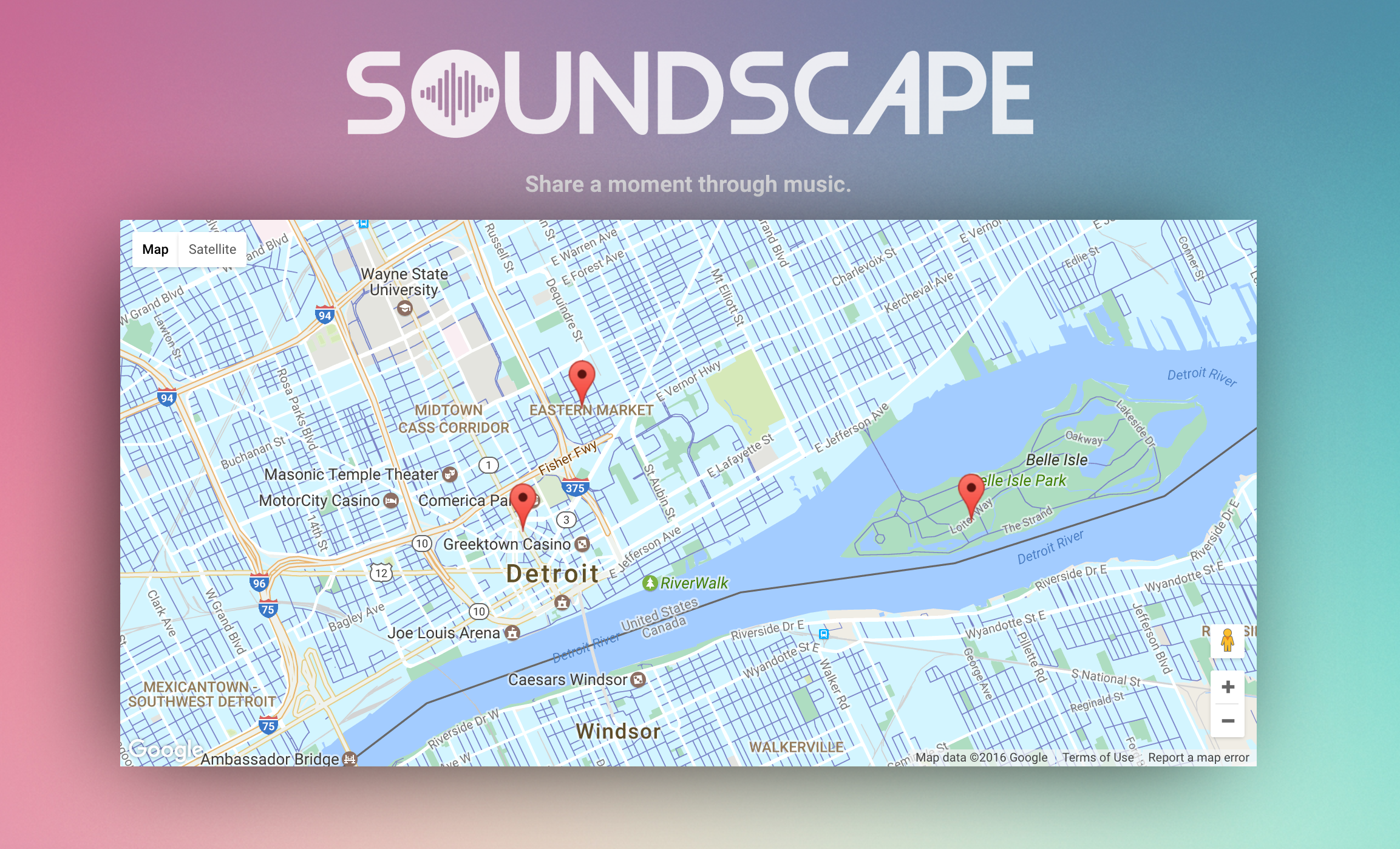 Home page of Soundscape application
