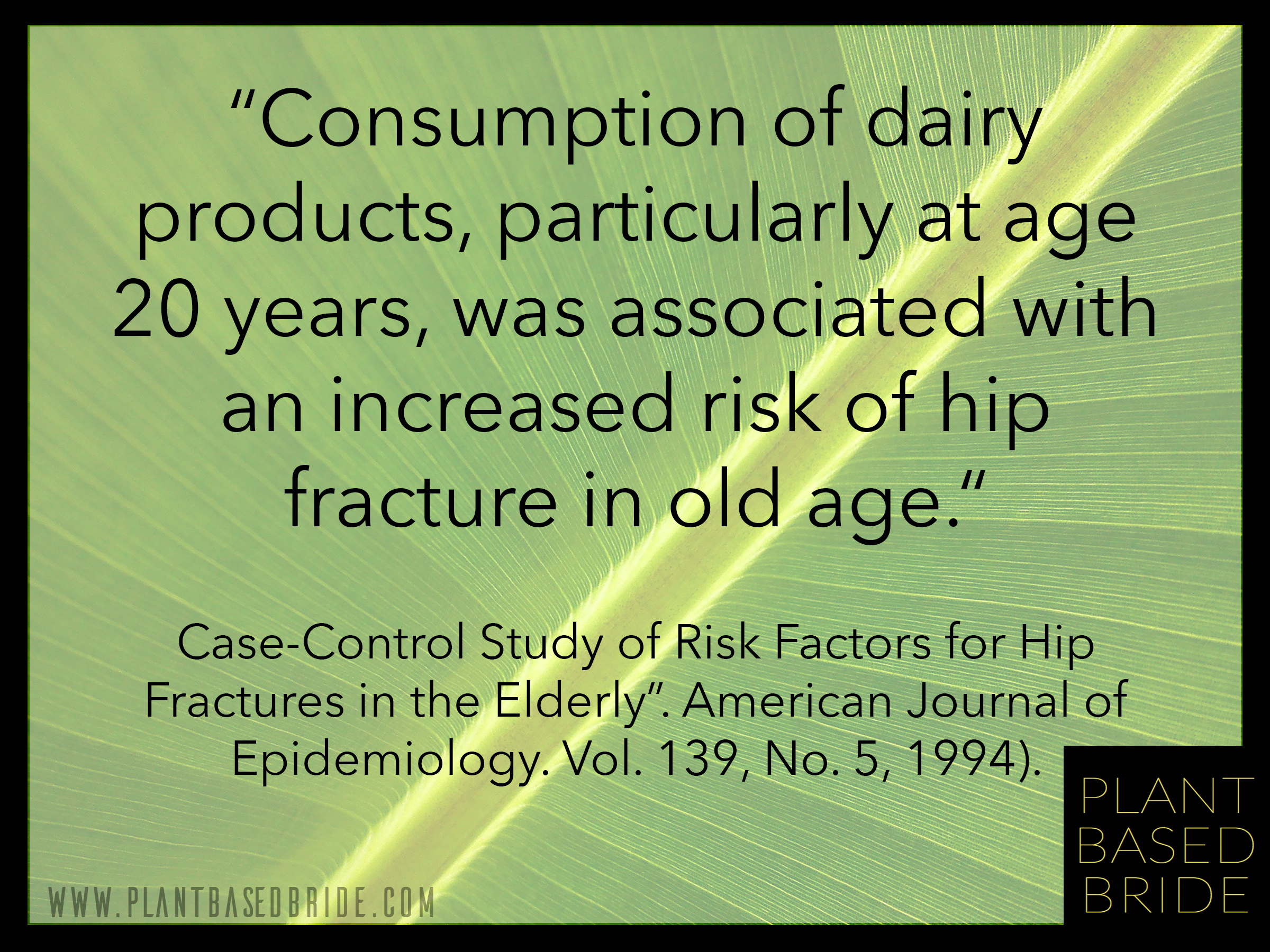 Negative effects of milk consumption on bone health has been proven time and time again.  So why isn't it common knowledge?  Plant Based Bride