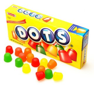 Dots are vegan!  Check out plantbasedbride.com for 9 more vegan halloween candy options!