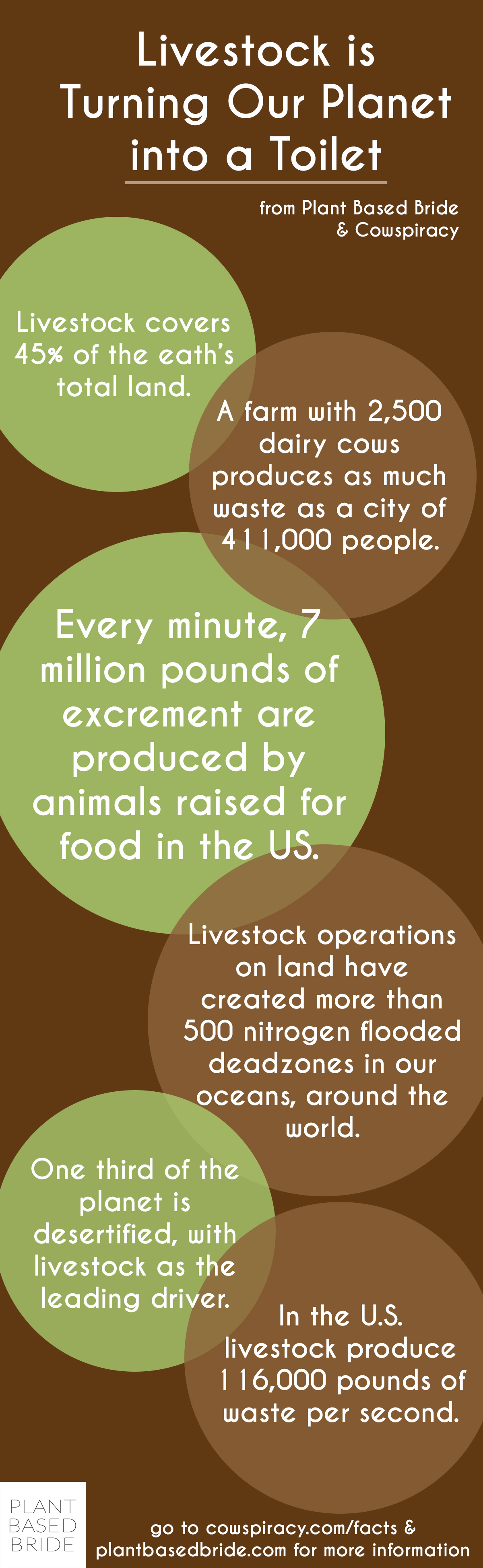 Animal agriculture is turning our planet into a toilet.  Let's save our planet by reducing our meat and dairy consumption today!  Facts from Cowspiracy, graphic by Plant Based Bride.
