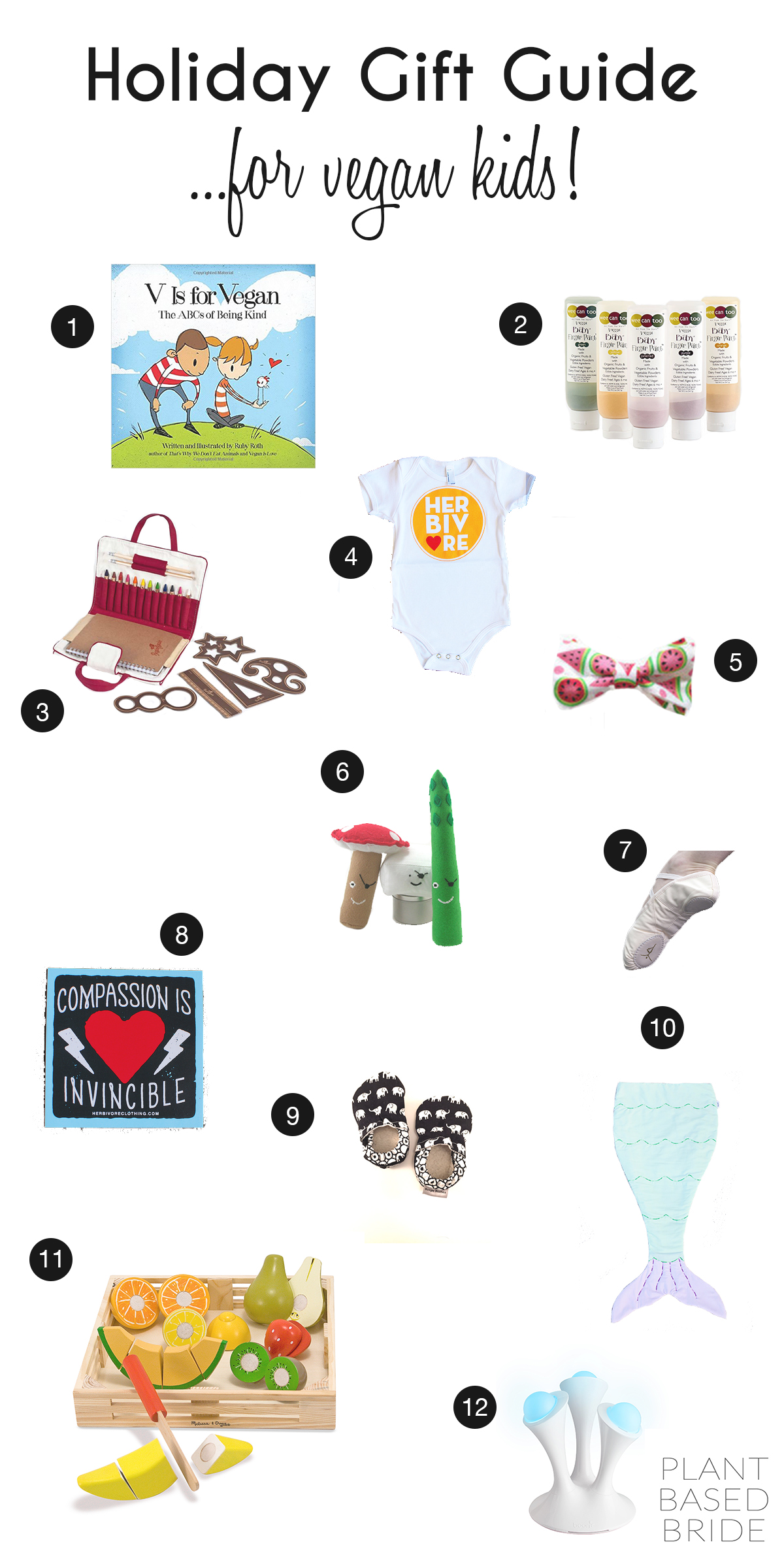 Looking for a gift for the vegan child in your life?  Or maybe they're not vegan, but you are and want to purchase something for them that fits within your ethical beliefs.  Either way, this list has some great ideas for kids of varying ages for this holiday season!