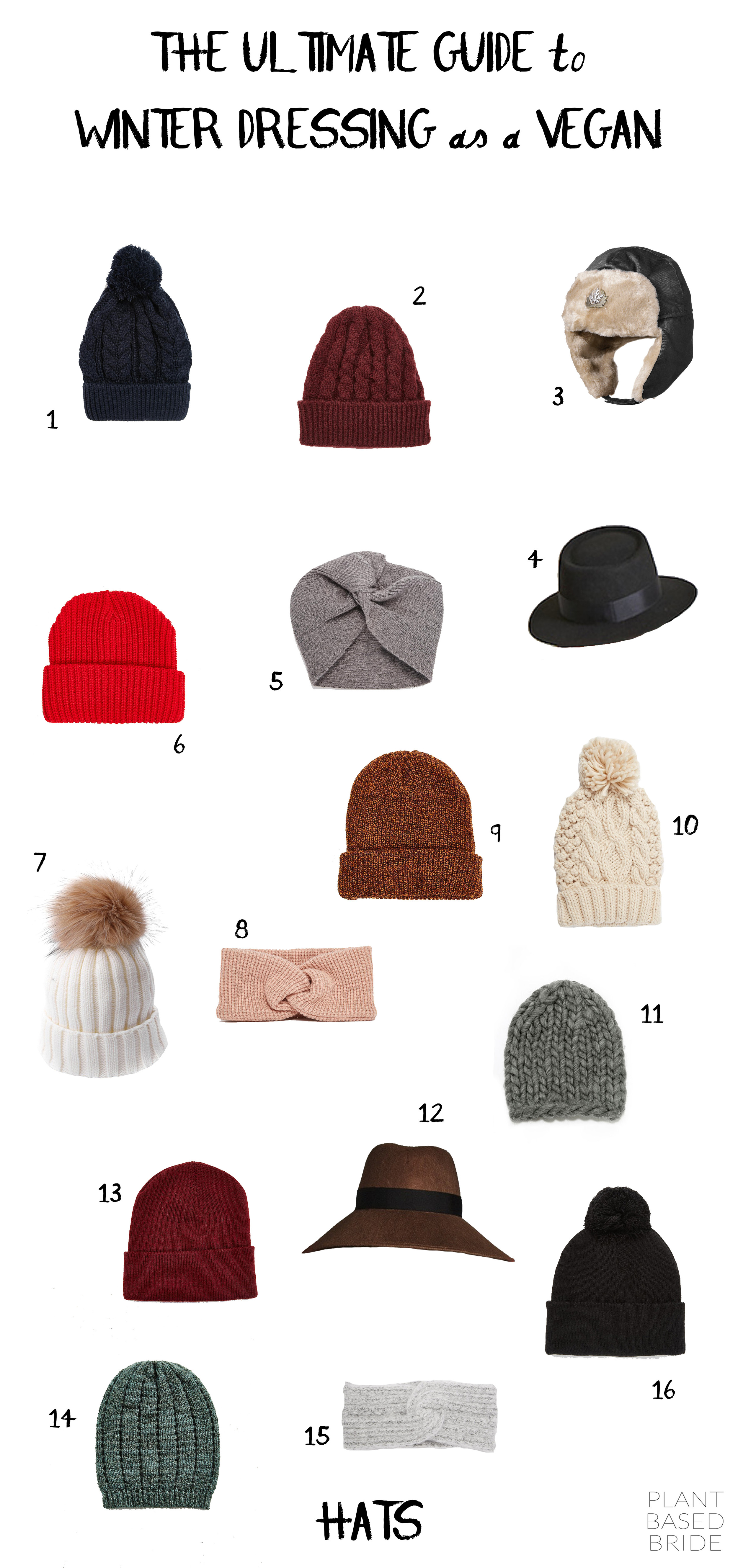 Vegan Hats // The Ultimate Guide to Winter Dressing as a Vegan // Plant Based Bride