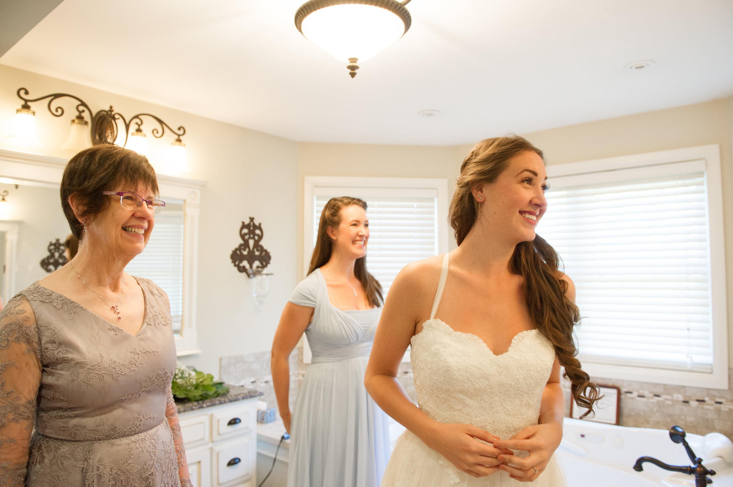 Mother of the bride, Maid of honour and the Bride are ready to go! Wedding photography by Karmel Kreative // Plant Based Bride