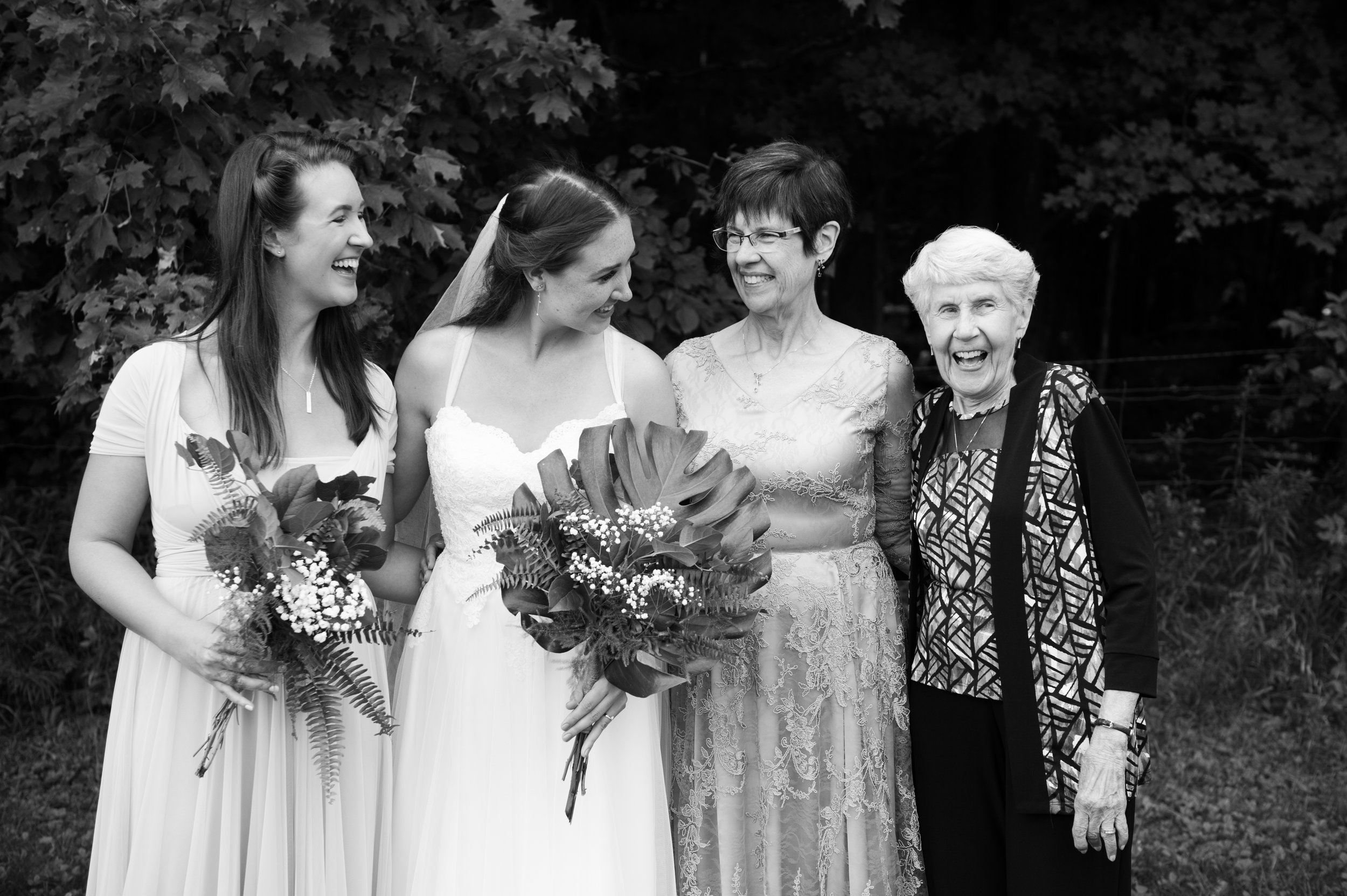 The maid of honour, bride, mother of the bride, and grandmother of the bride! // Wedding photos by Karmel Kreative // Plant Based Bride