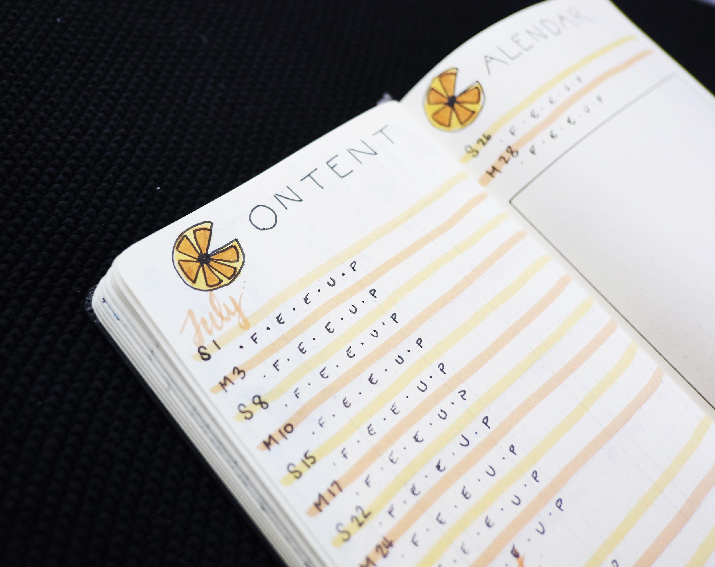 Bullet Journal July 2017 Content Calendar // Plant Based Bride
