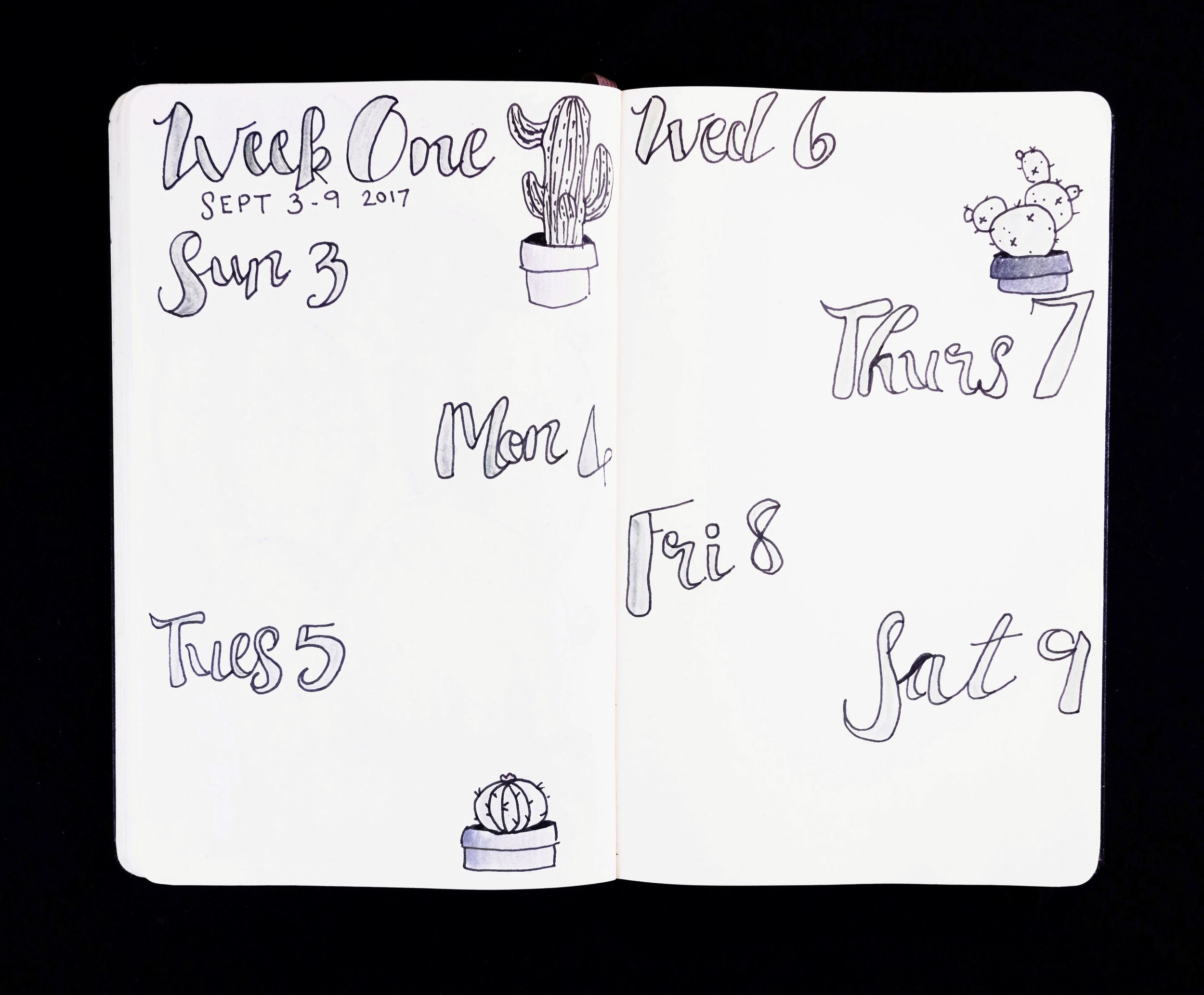 Weekly Spread Cactus Theme Bullet Journal // Plant Based Bride