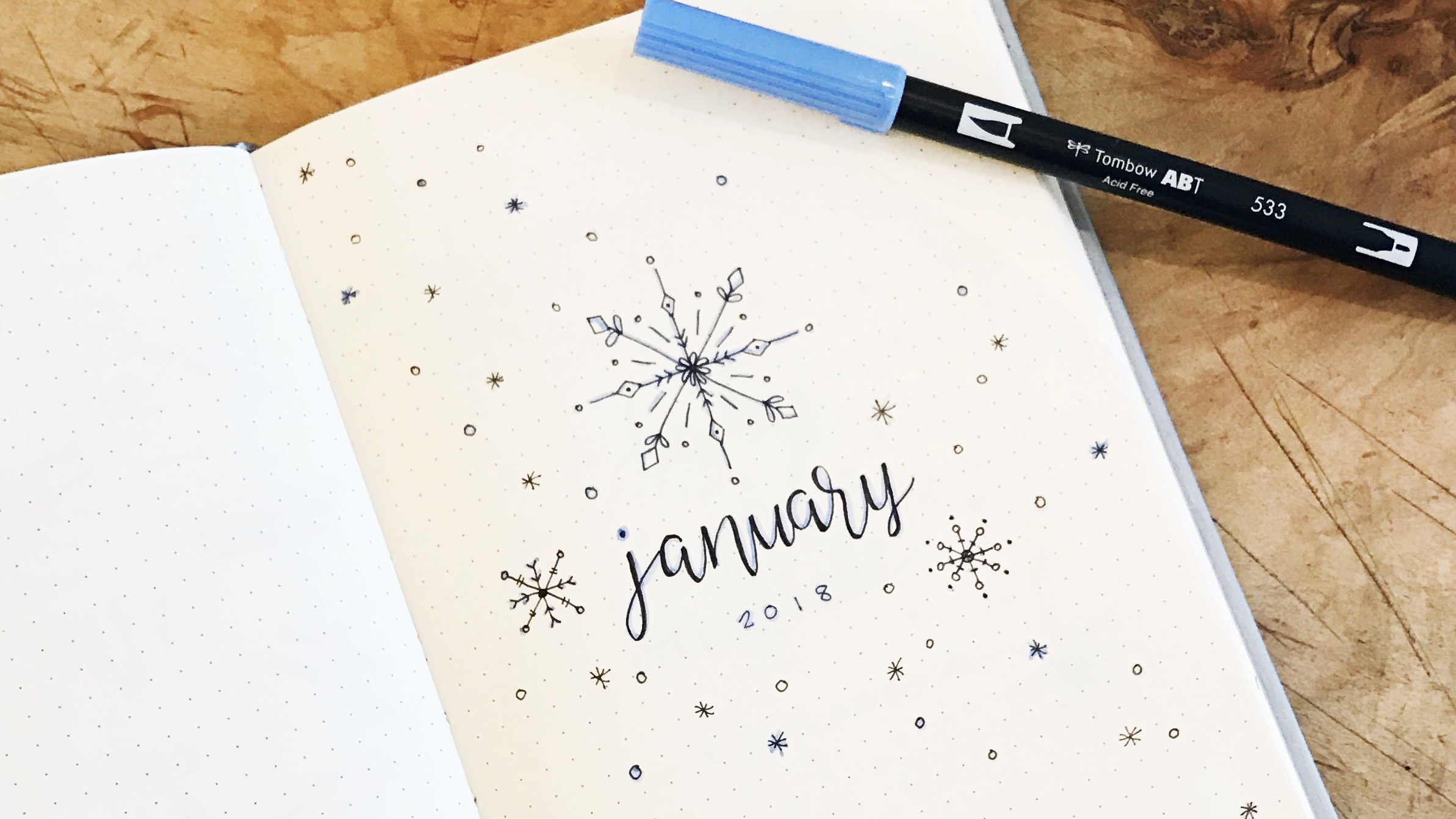 January 2018 Bullet Journal Snowflake Theme // Plant Based Bride