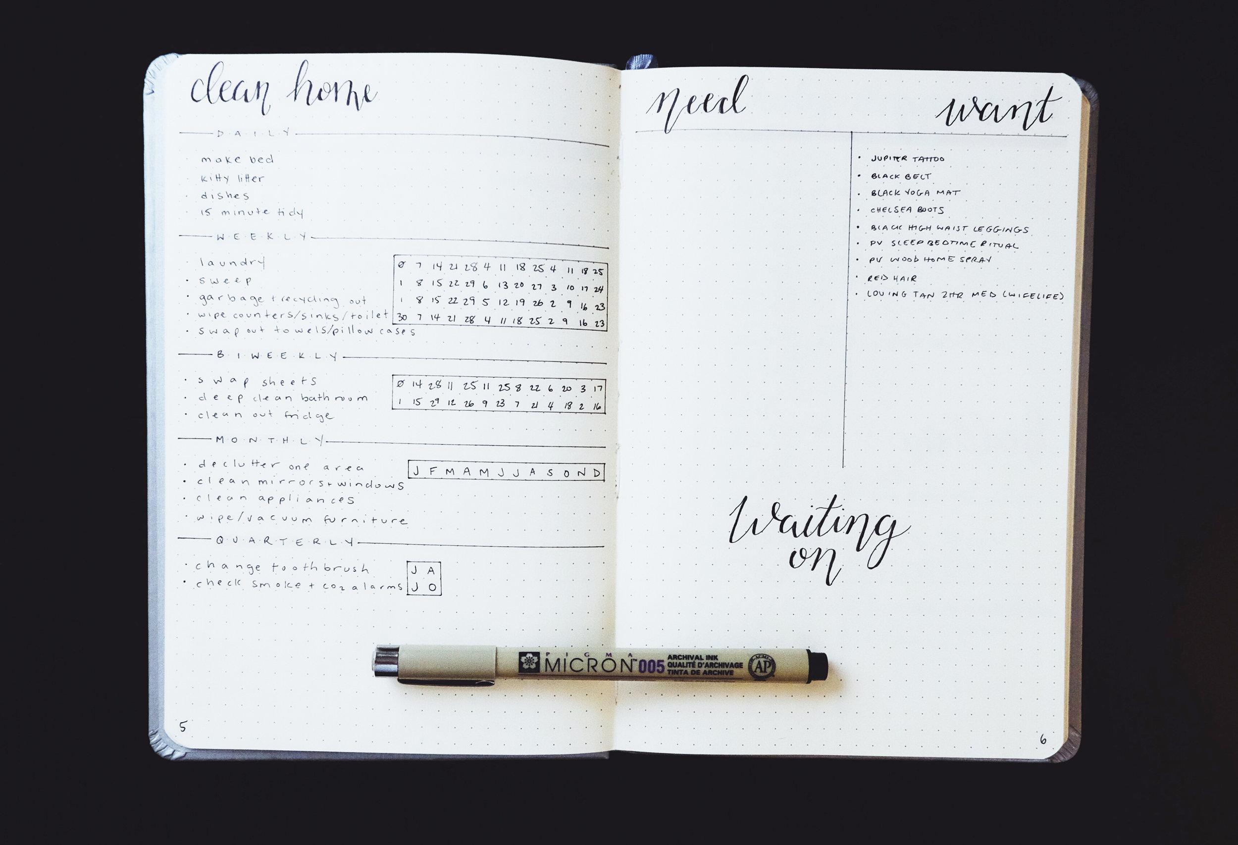 Cleaning Spread + Need Want Waiting On Spread in my New Bullet Journal Set Up 2018 // Plant Based Bride
