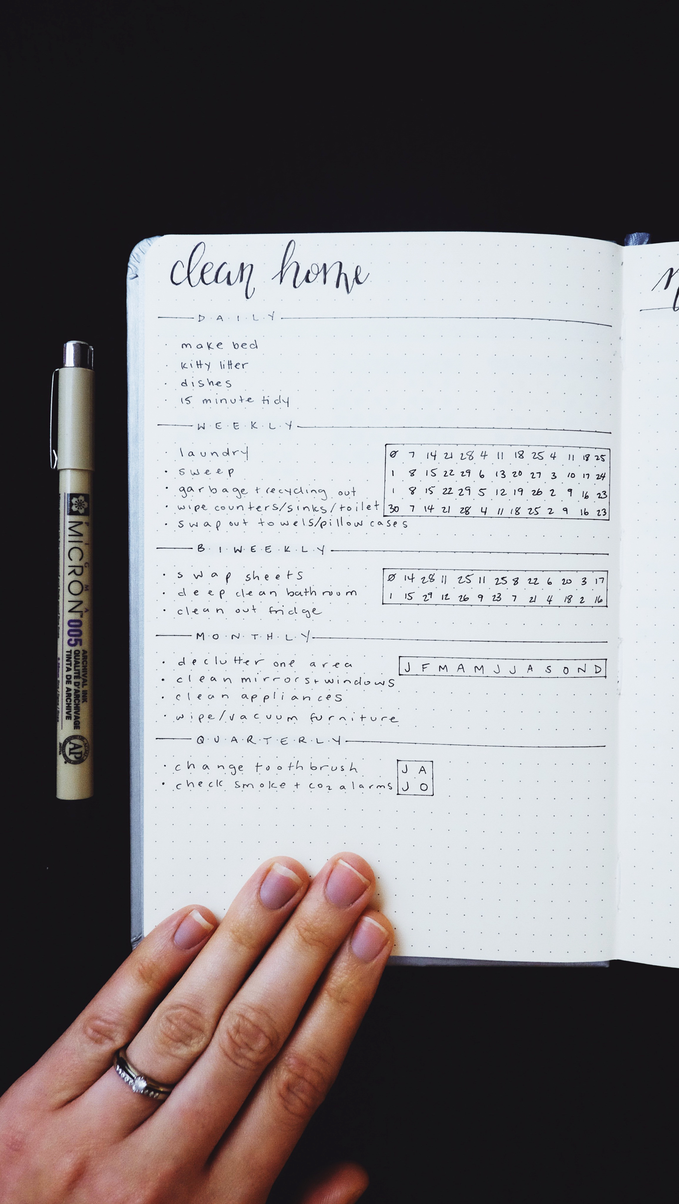 Clean Home Spread New Bullet Journal Set Up 2018 // Plant Based Bride