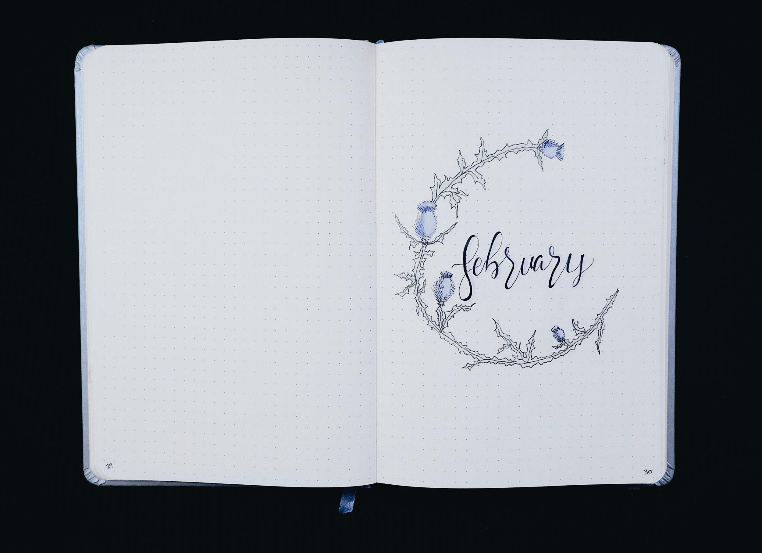 February 2018 Bullet Journal Thistles // Plant Based Bride