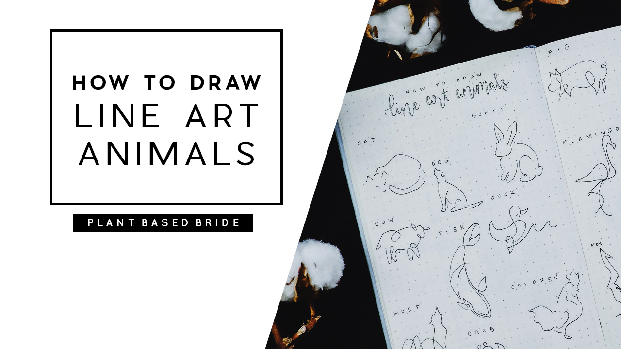 HOW TO DRAW LINE ART ANIMALS: A One Line Drawing Tutorial // PLANT BASED BRIDE