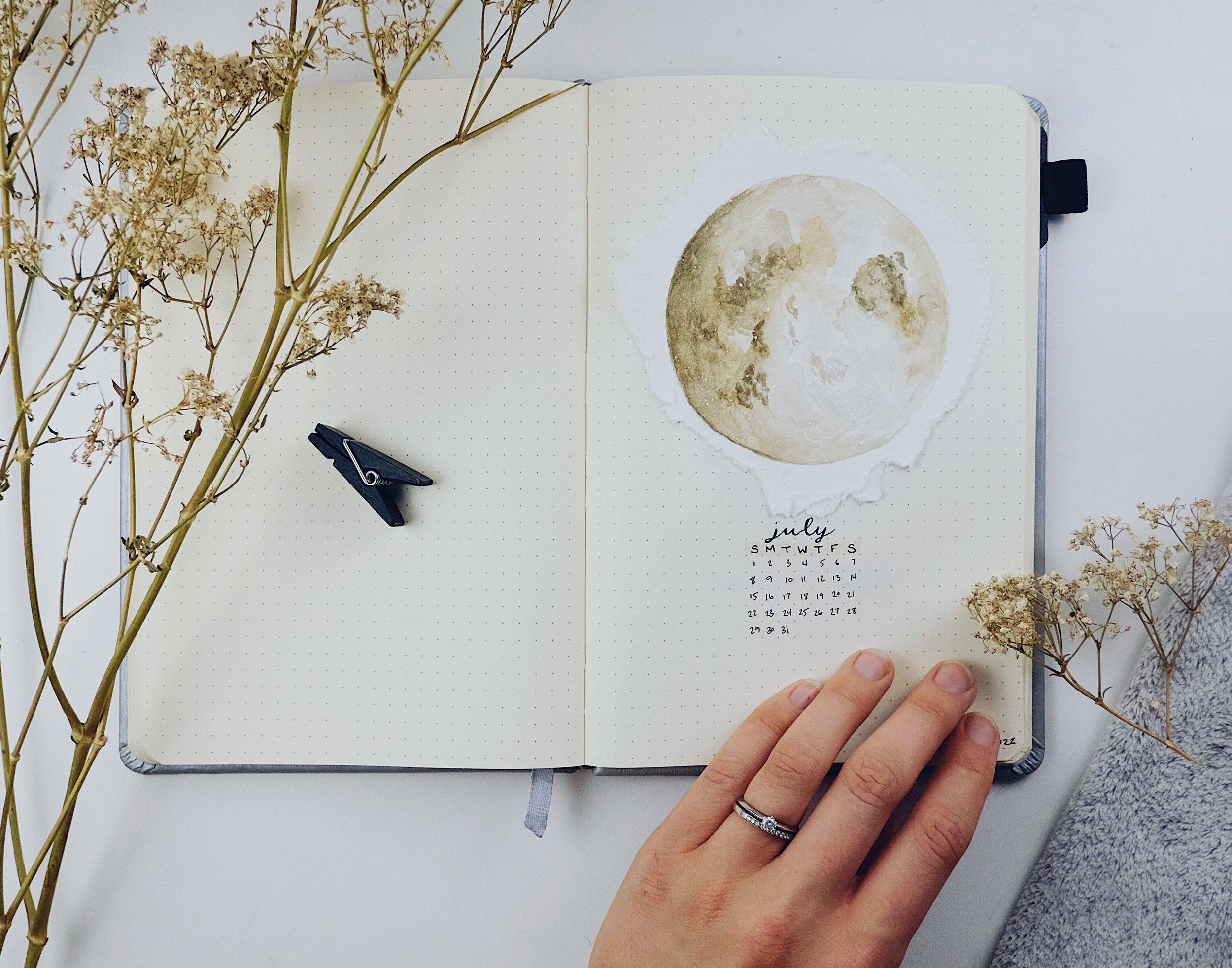 July 2018 Bullet Journal Moon Theme // Plant Based Bride