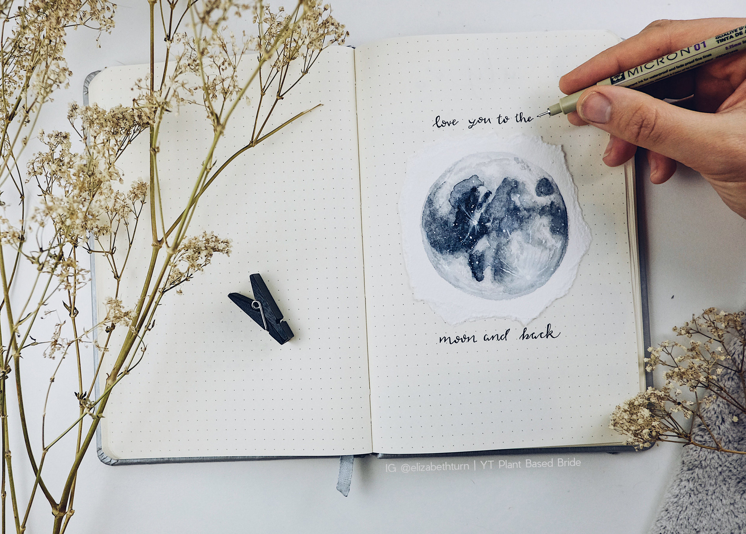 Love You To The Moon And Back - Watercolour Moon // Plant Based Bride