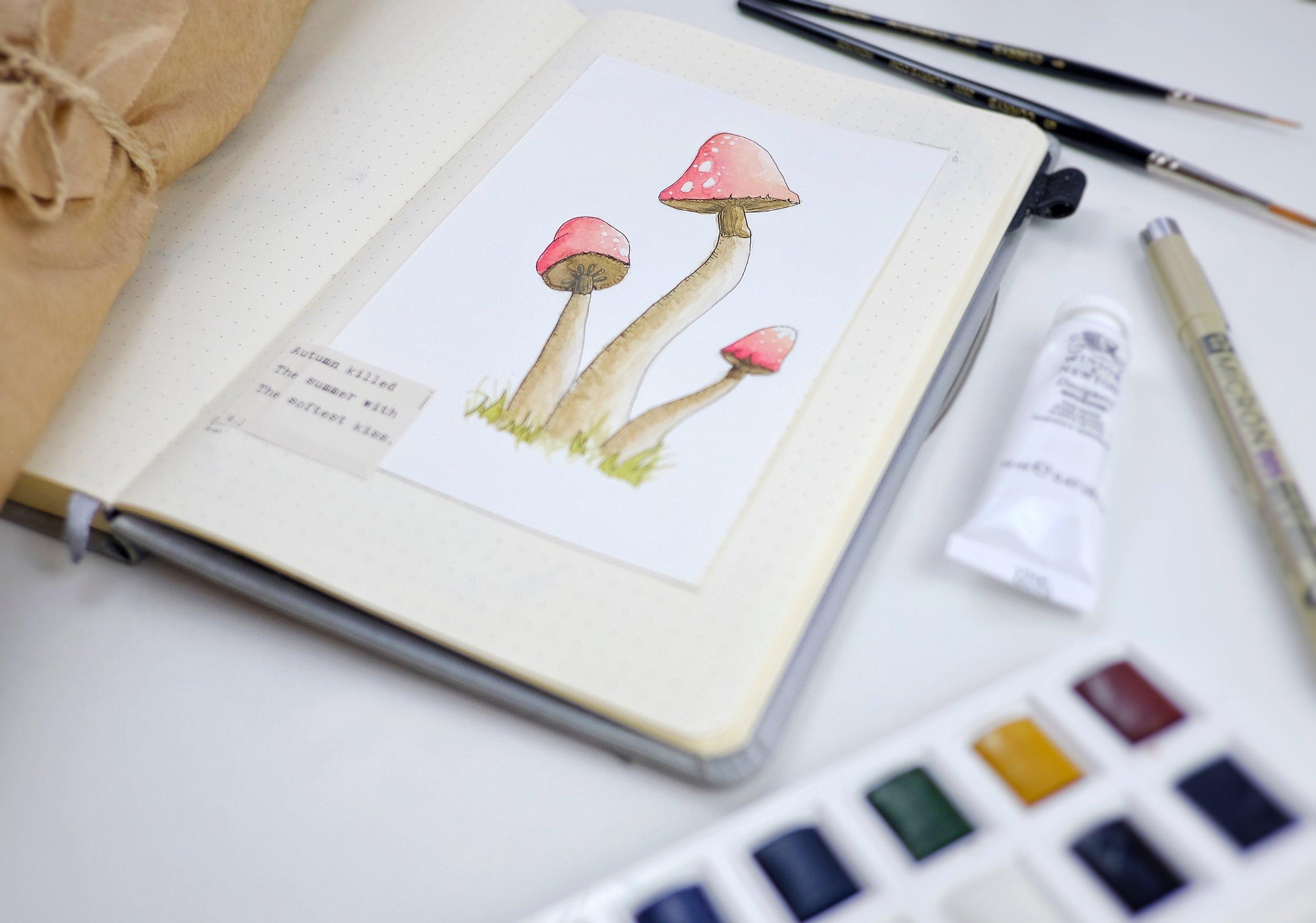 Watercolour mushrooms in my September 2018 Bullet Journal // Plant Based Bride