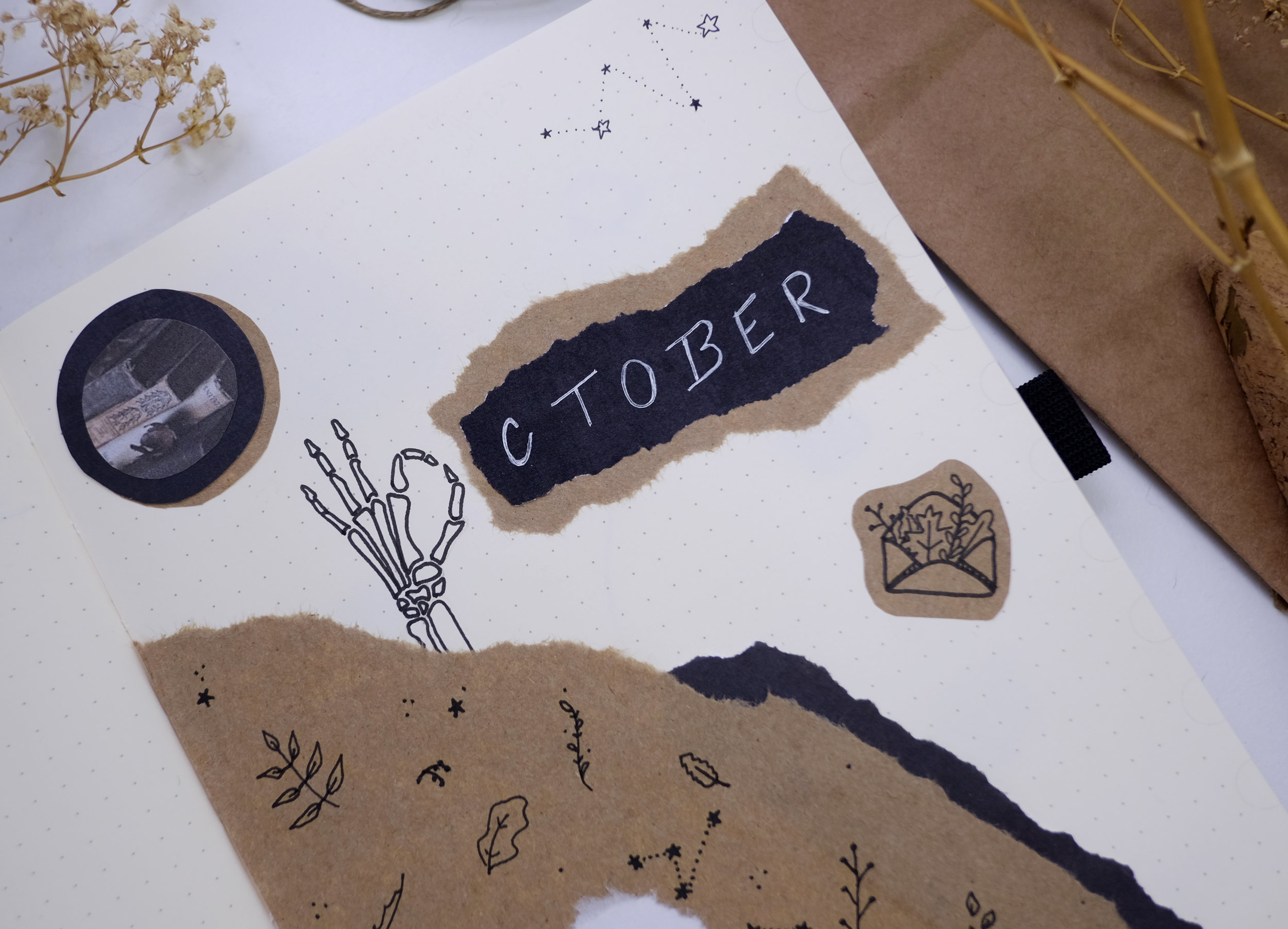 October Bullet Journal Cover Page // Fall Cozy Spooky Theme // Plant Based Bride