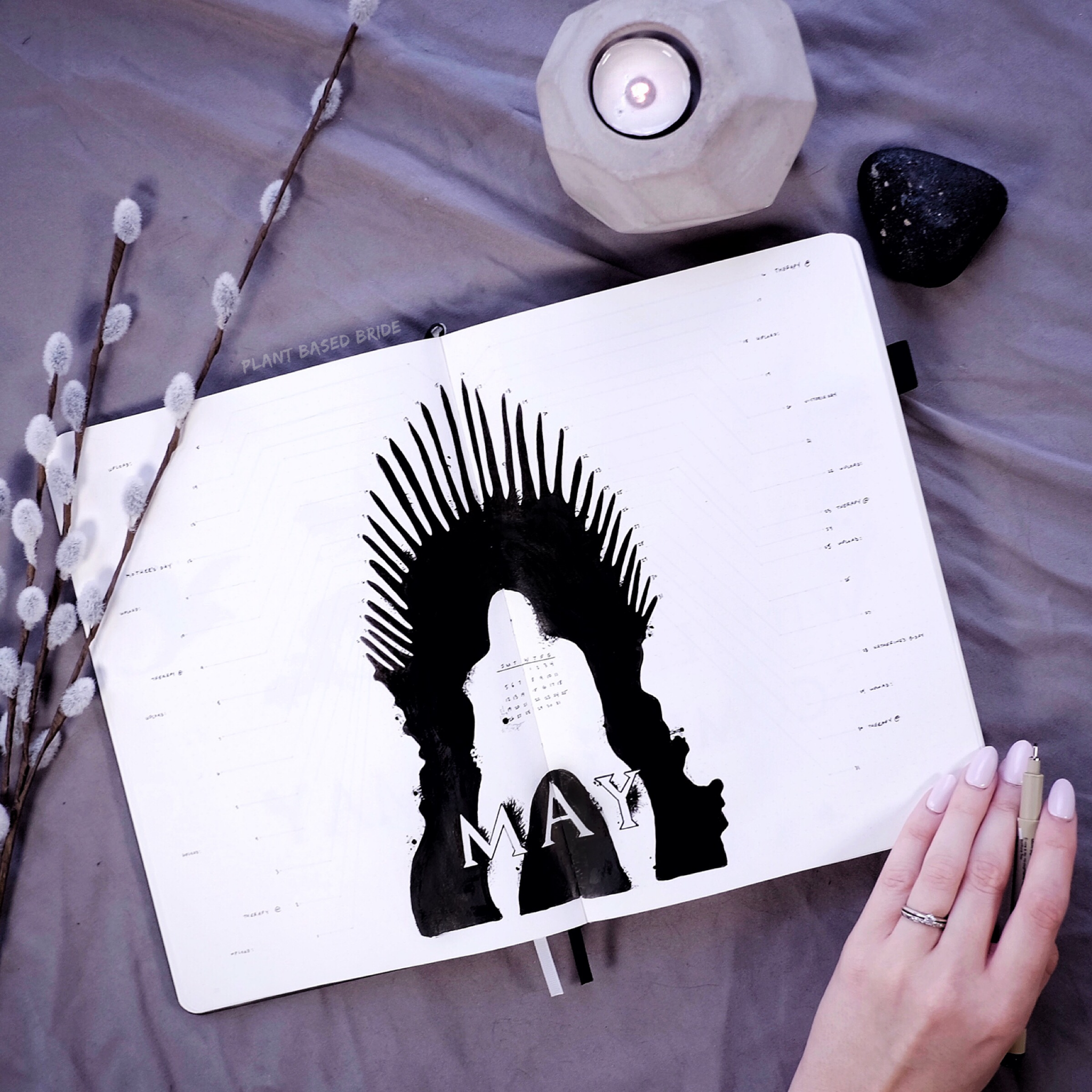 Game of Thrones May 2019 Bullet Journal Plan With Me | Plant Based Bride | Iron Throne Dial Monthly BuJo Ink Drawing
