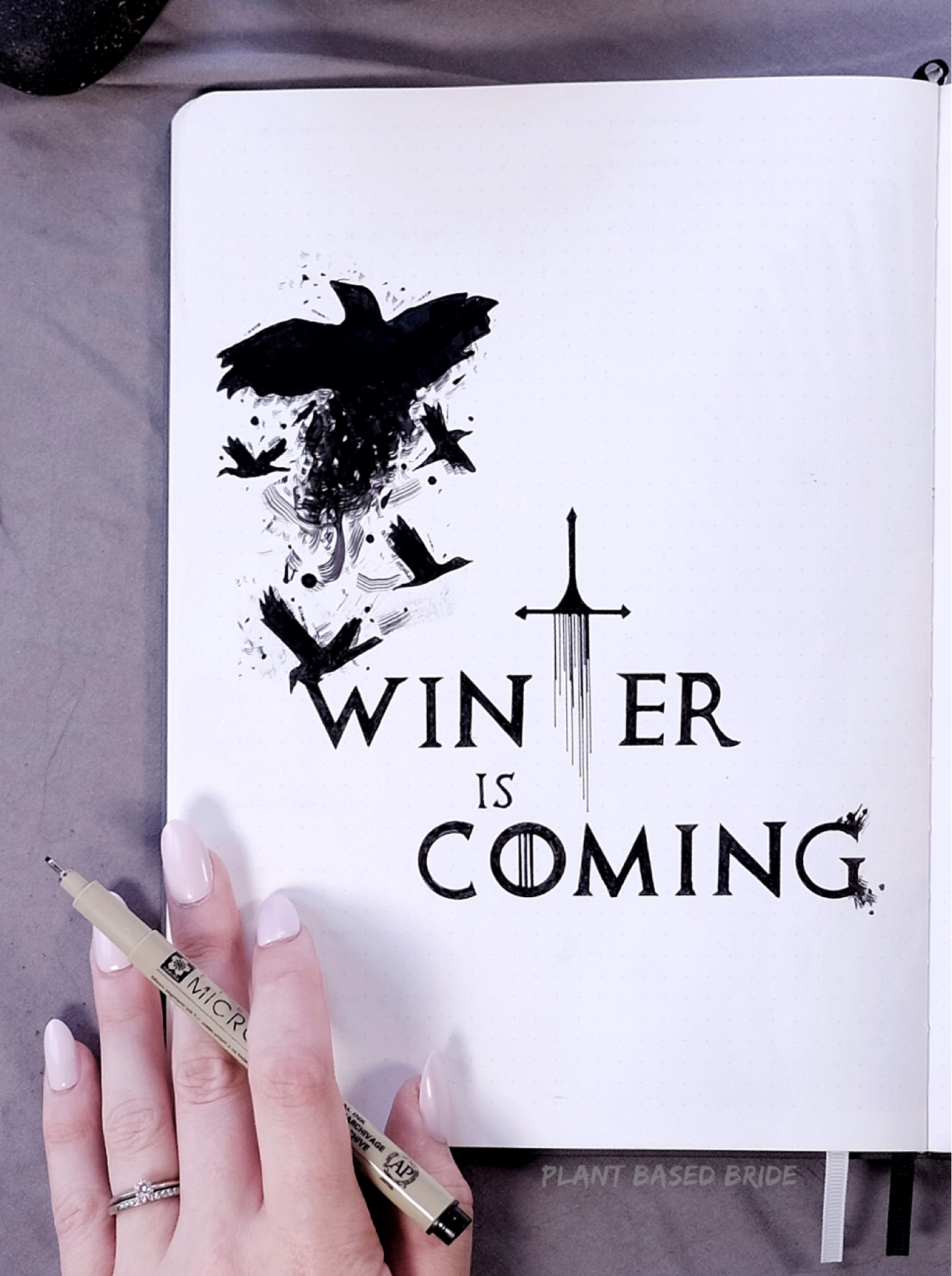 Game of Thrones May 2019 Bullet Journal Plan With Me | Plant Based Bride | Winter Is Coming Quote Page BuJo Ink Drawing