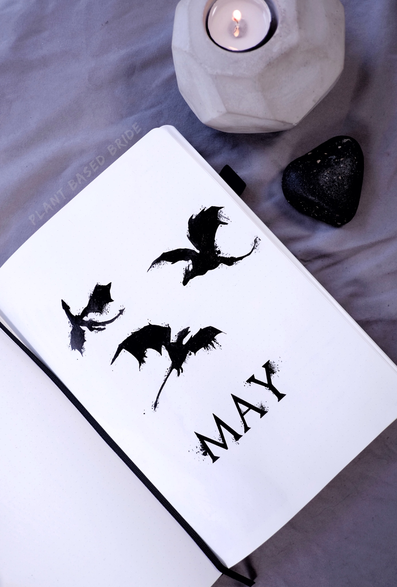 Game of Thrones May 2019 Bullet Journal Plan With Me | Plant Based Bride | Dragons Cover Page BuJo Ink Drawing