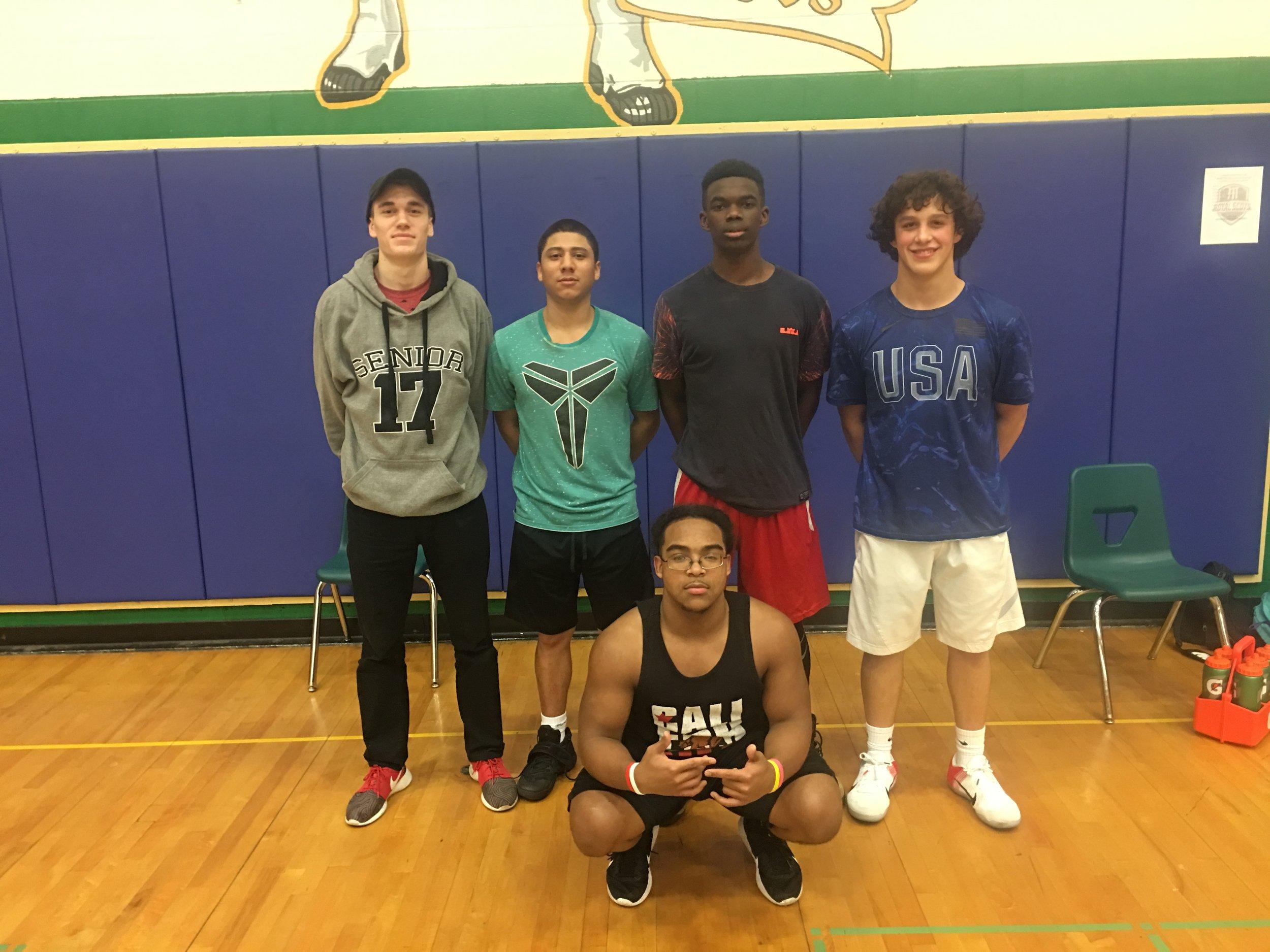Seniors: Hayden Hull, Josiah Castillo, Shaton Daniels (Bam), Noah Tavera, and manager Bailey.