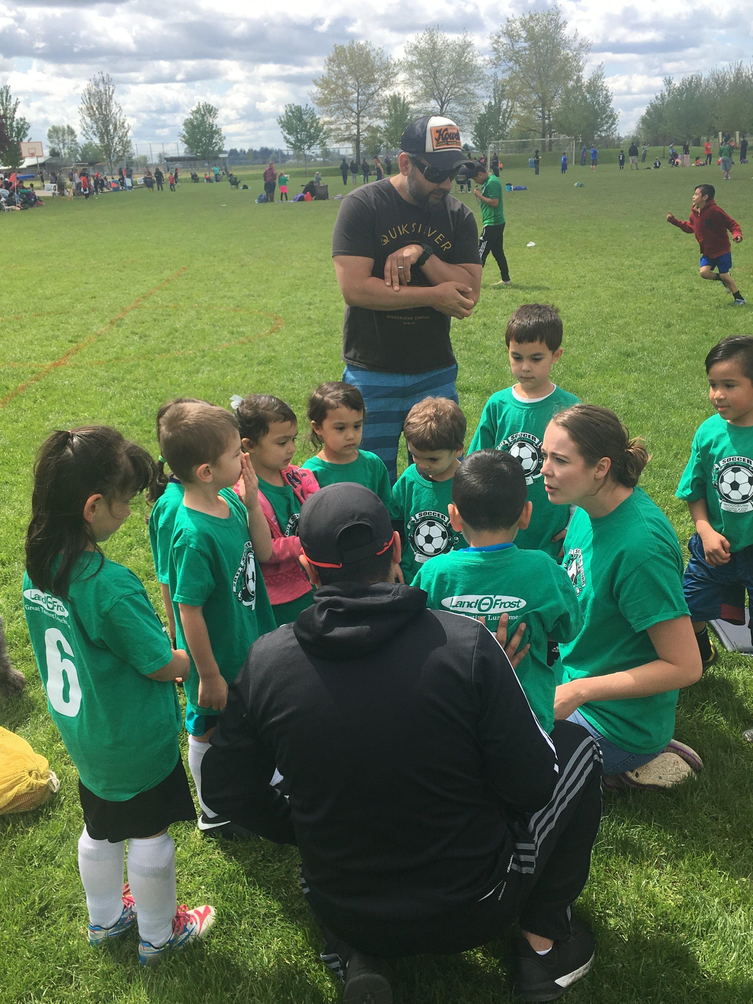 2017 Darci Berry de Canessa instructs her PeeWee League soccer team.