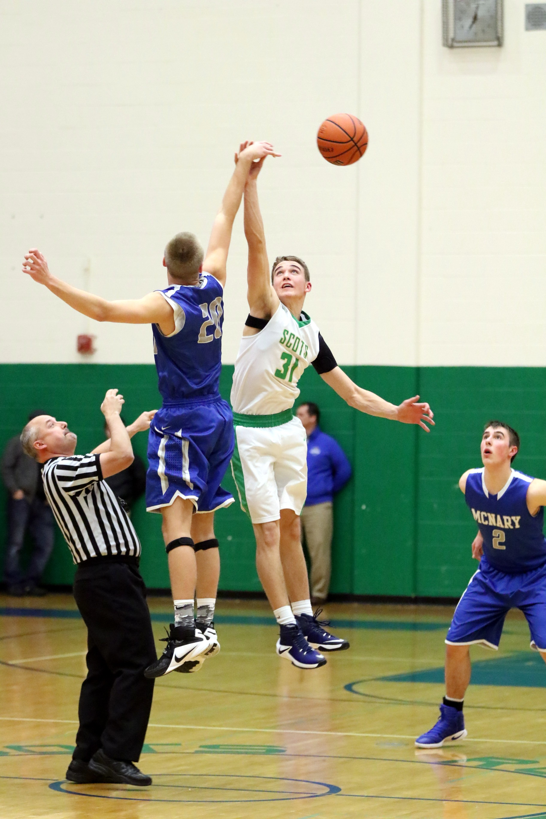 Ryan out jumps taller players regularly. Photo by Kent Brewer.