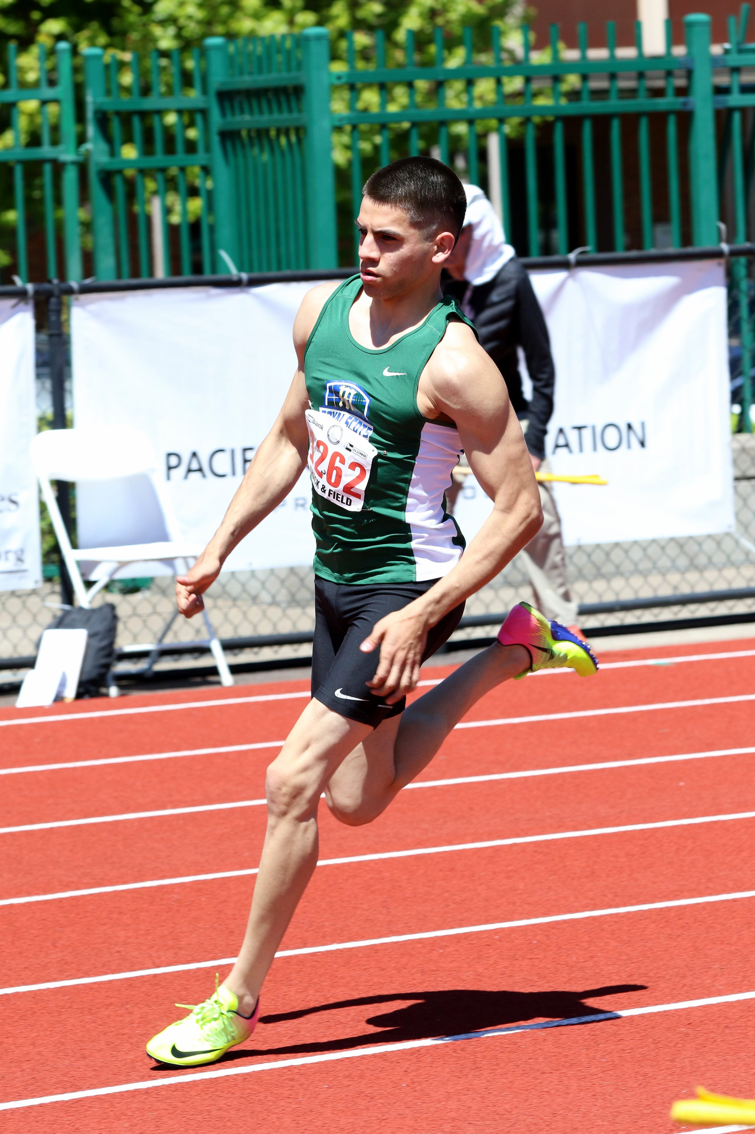 2017 - Israel Garza placed 5th at state in the 100-meter dash. Photo by Kent Brewer.