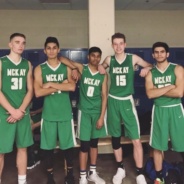 Israel with his friends that have played together since 6th grade. They won their first game of the season vs. Lakeridge, 90 - 81. Photo by Havier Gonzales (manager)