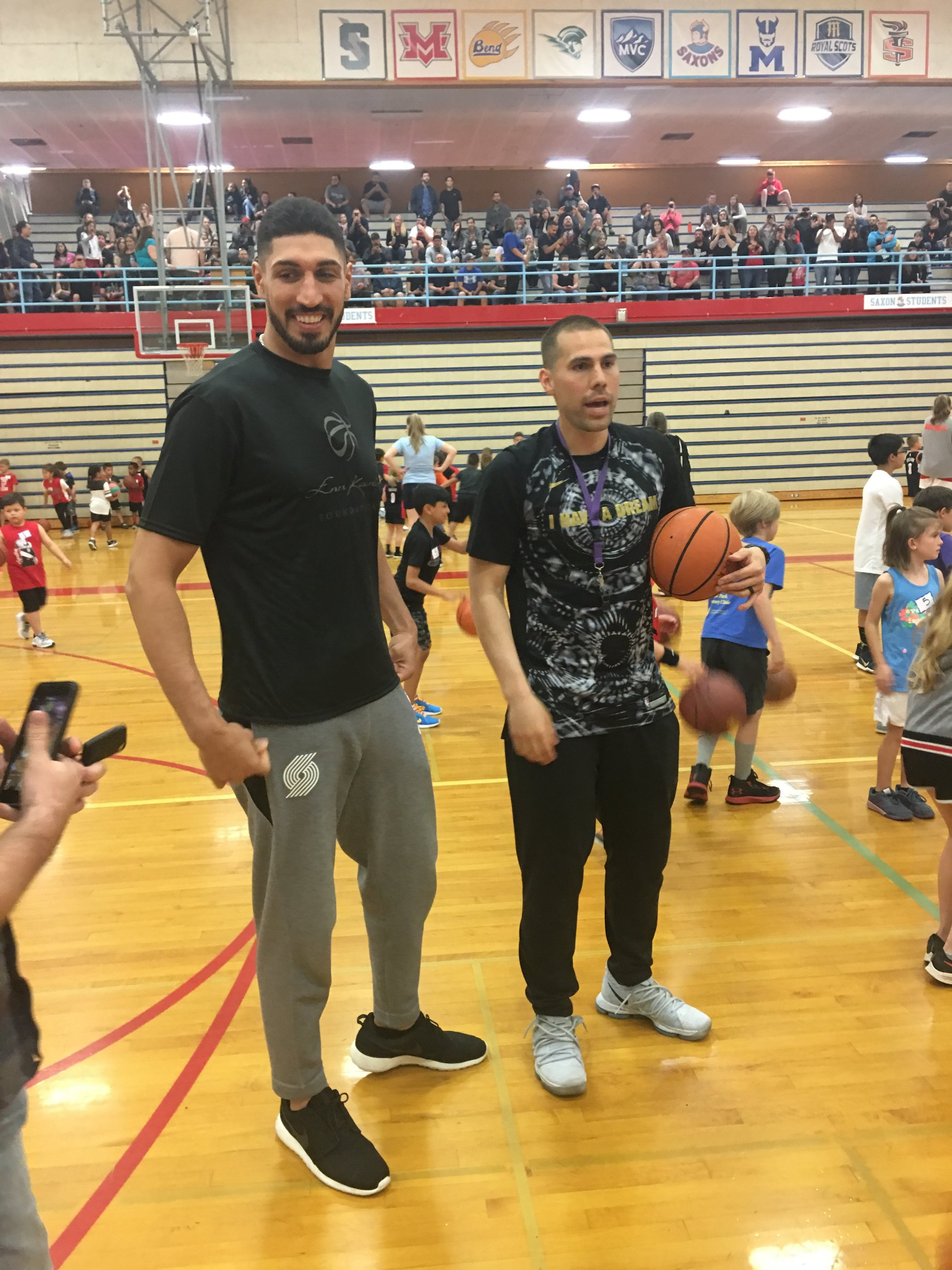 Enes Kanter planning with Coach Noza — He liked Salem Hoops Project.