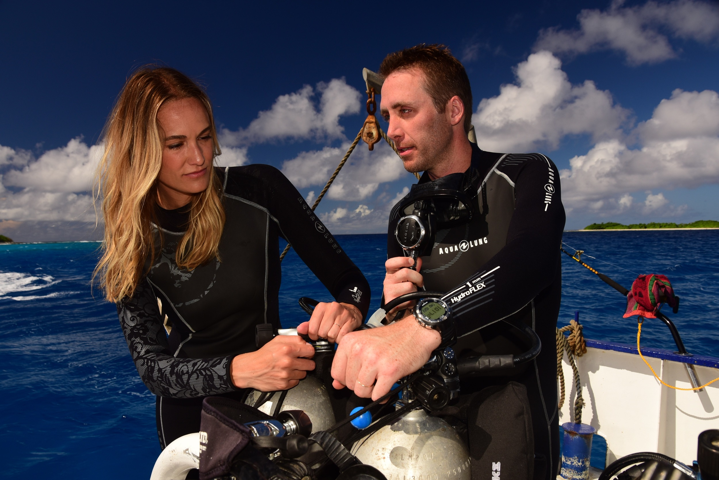 Philippe and Ashlan on expedition in Marshall Islands