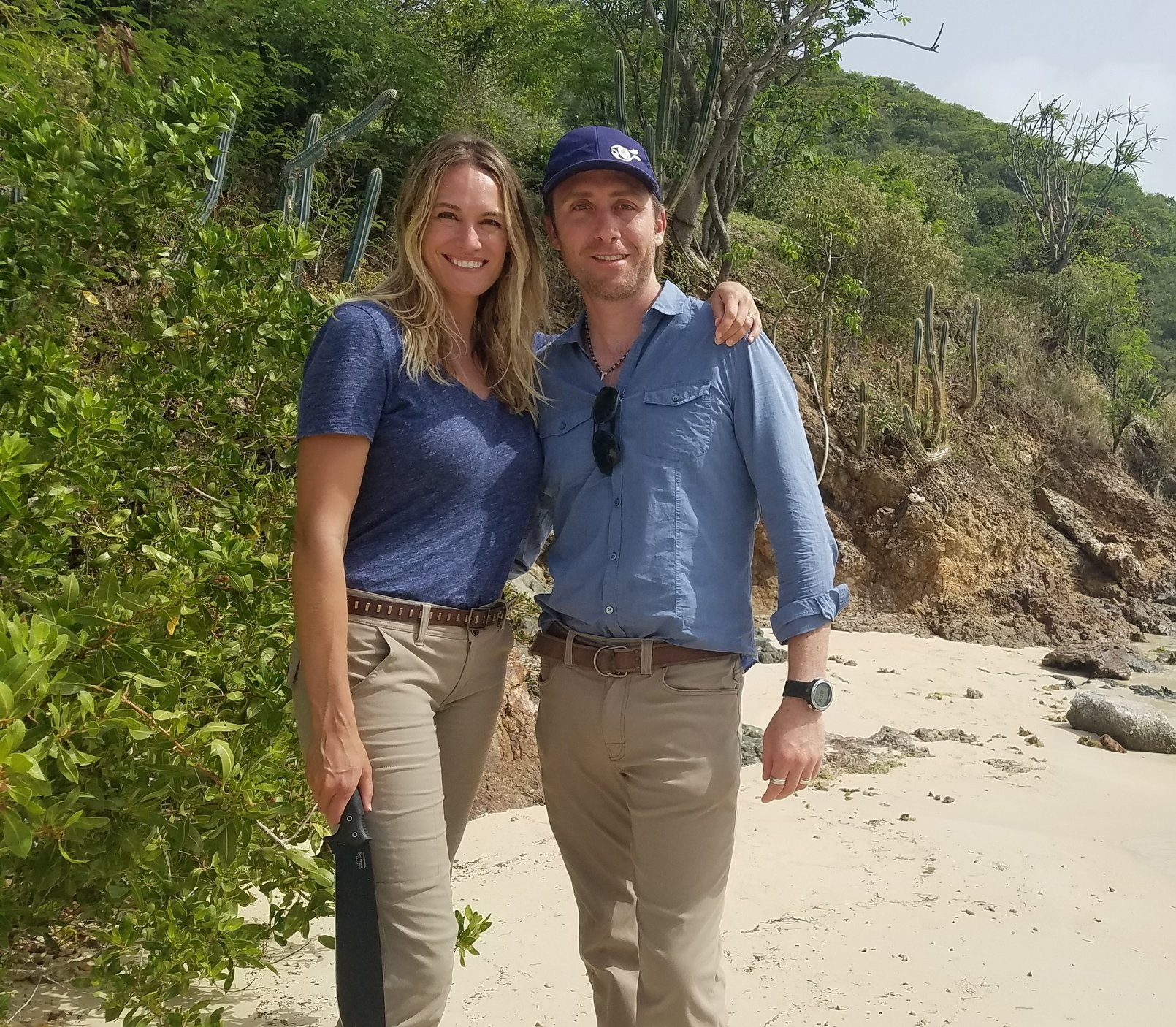 Philippe and Ashlan on location in Tortola