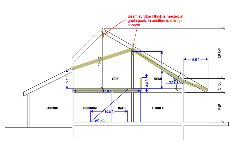 In this section drawing, the roof on the right is facing south. We are still exploring various roof profiles to shed snow, minimize building costs, and maximize solar production.