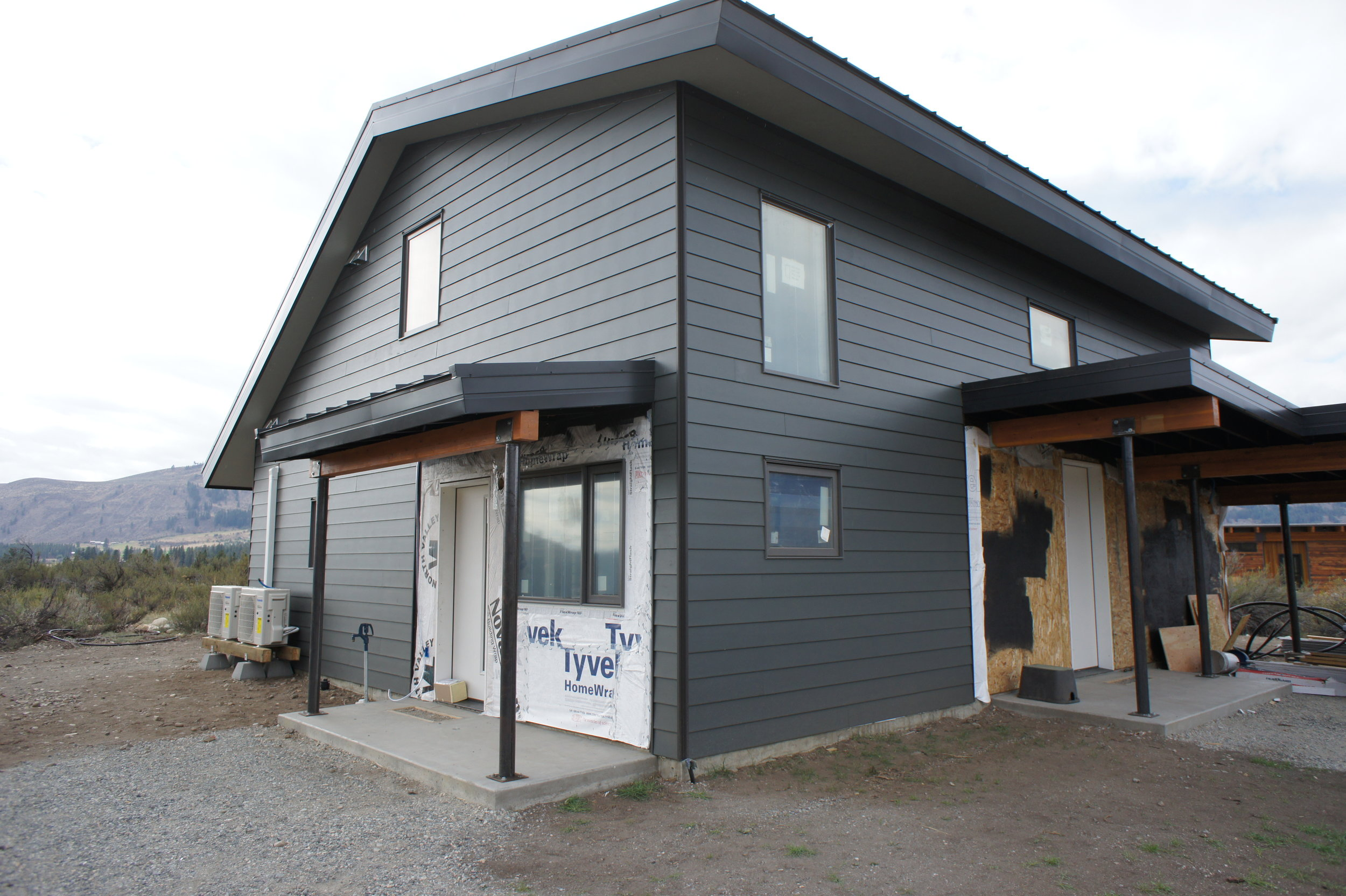 The siding is Hardie Plank, a fibercement, fire-resistant product.