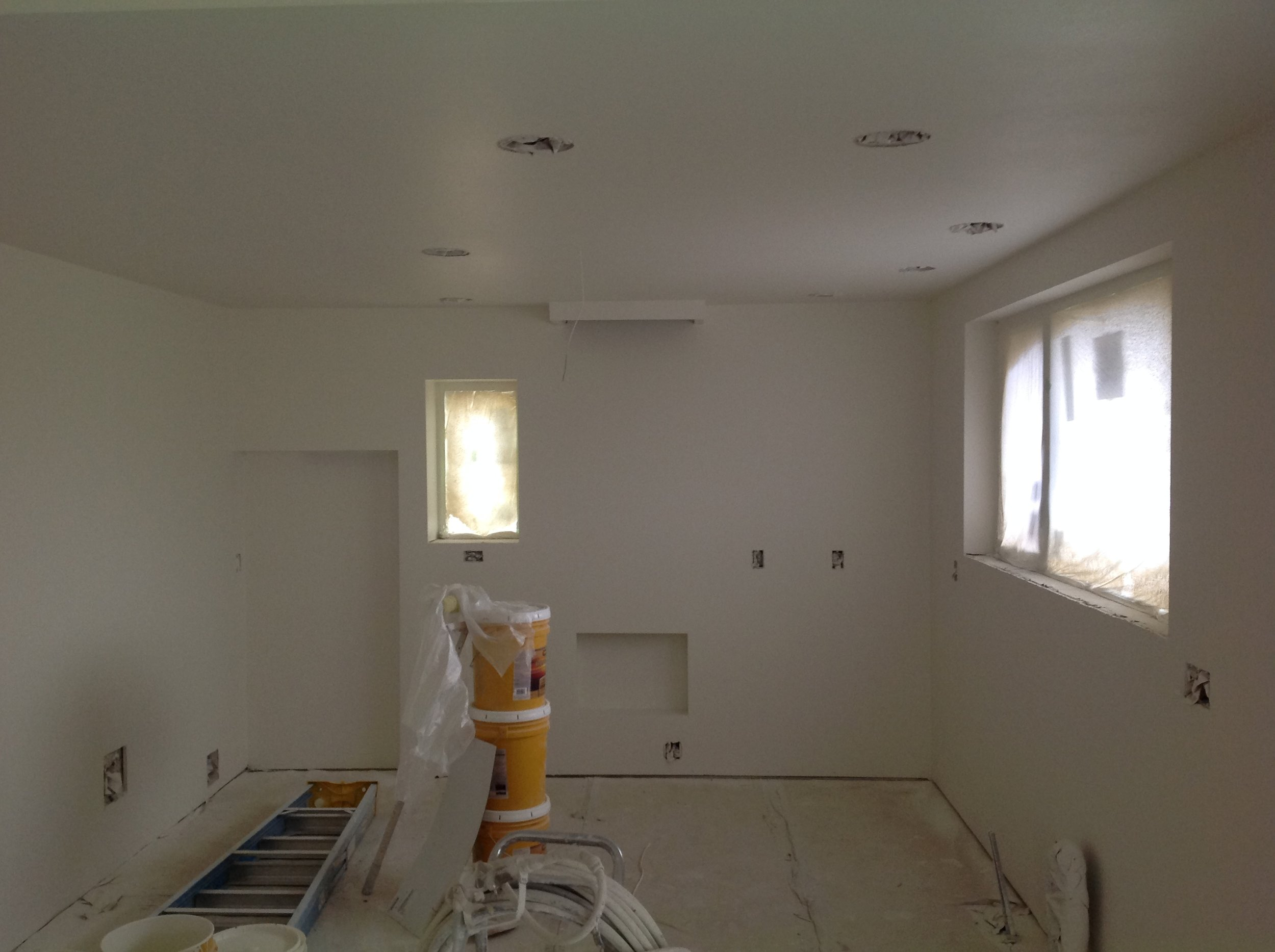 The kitchen is now textured and painted with zero-VOC paint.