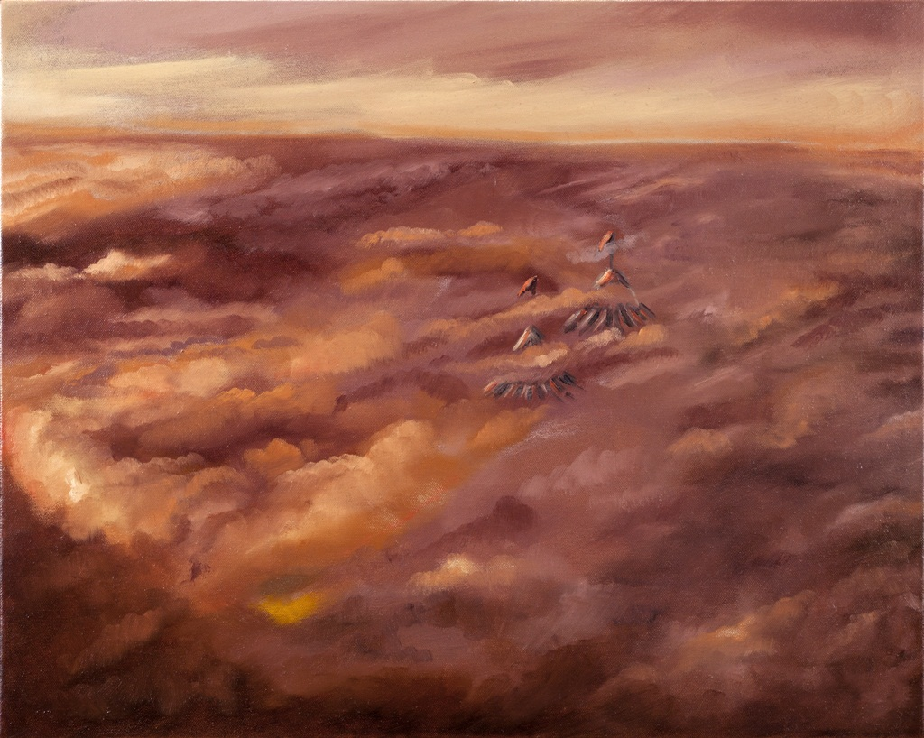 """Waking Up Above The Clouds  o/c  16"""" x 20"""""""