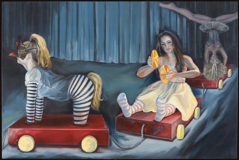 """Cirque de la Femmes  o/c  48"""" x 72"""""""