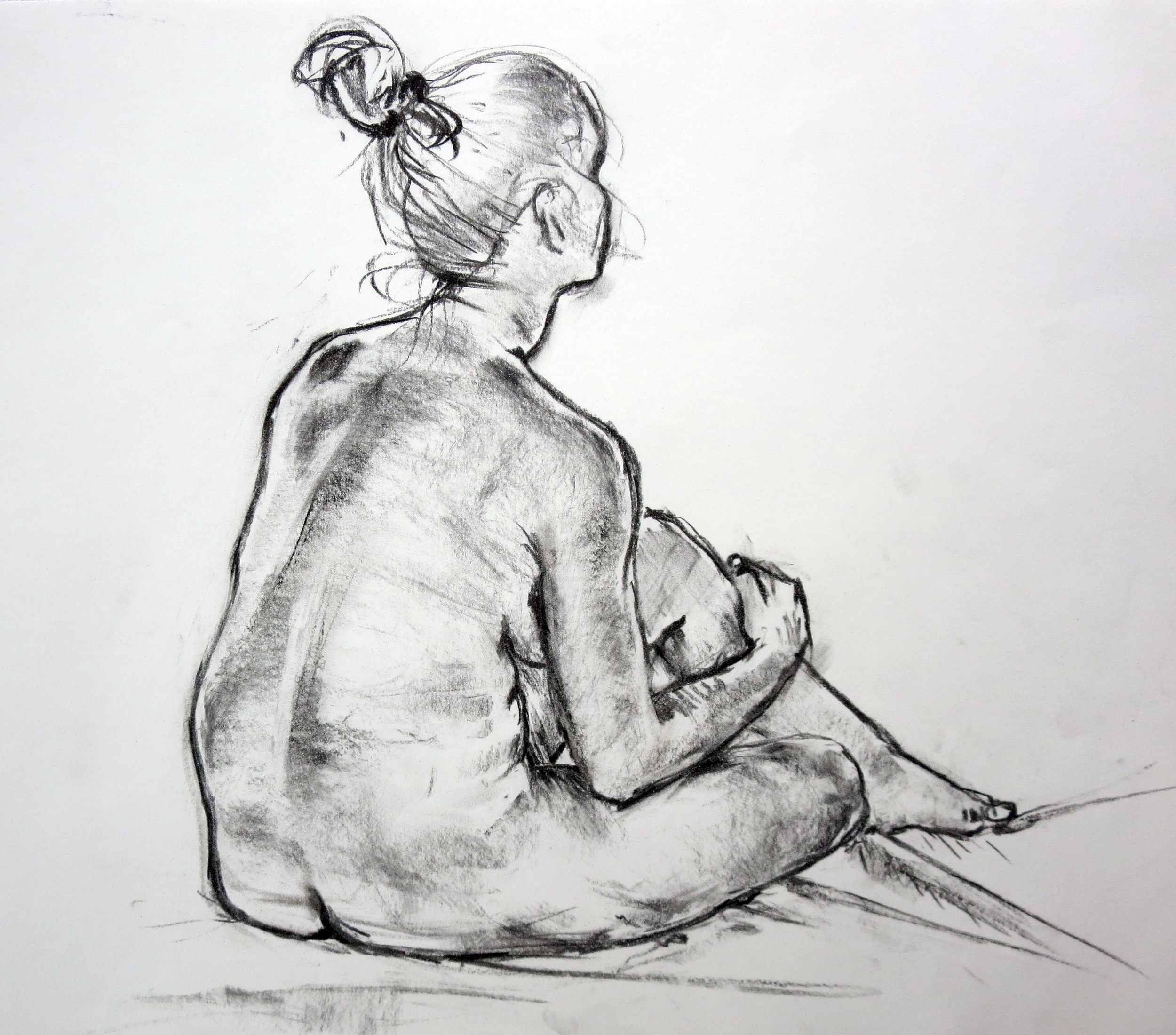 figure drawing study charcoal  ~20min  2014