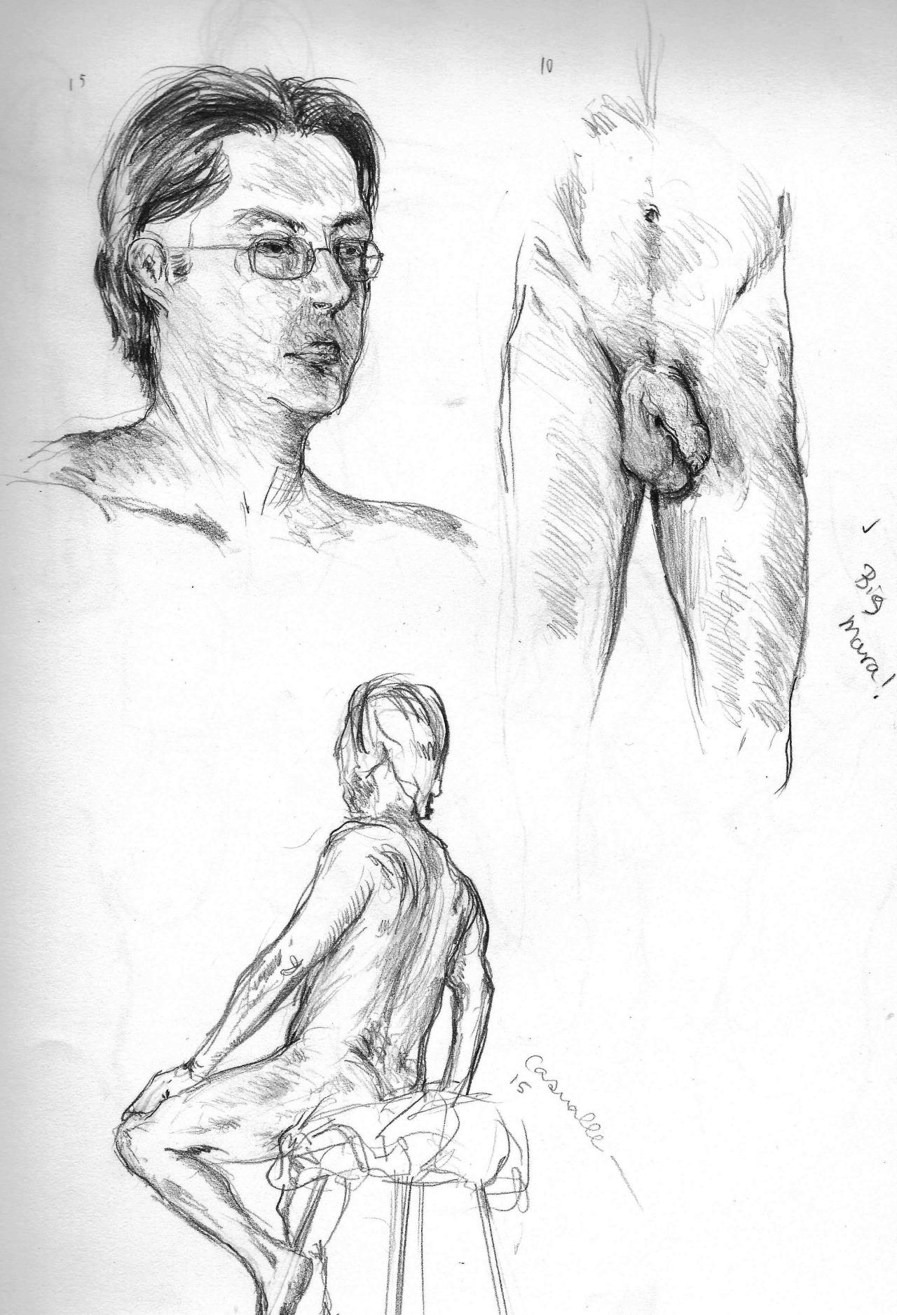 figure drawing study  15, 10 & 15 min  2014