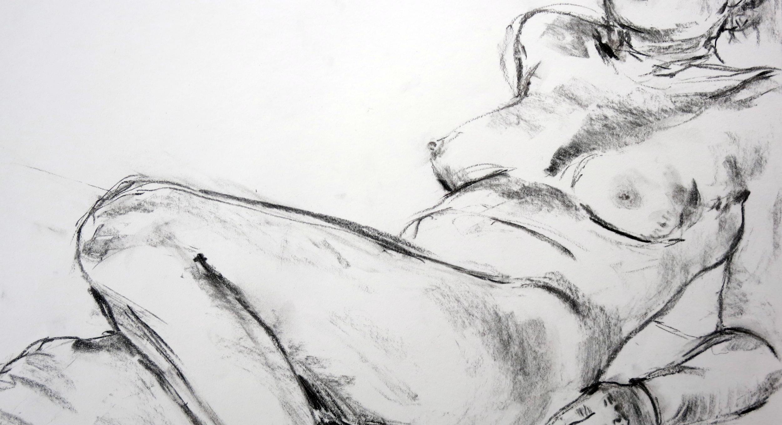 figure drawing study charcoal 15 min  2014